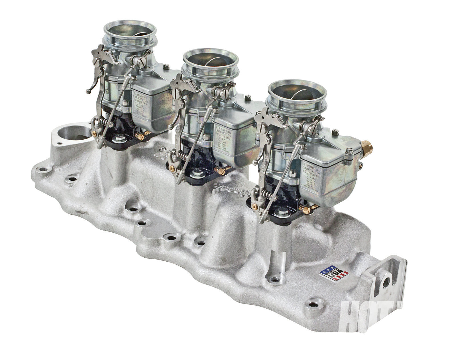 Edelbrock offers two different versions of this intake for early and late Flatheads. We tested the '49–'53 version that features front road-draft tube provisions, 13⁄8-inch-od oil fill bosses, and a raised fuel-pump boss.