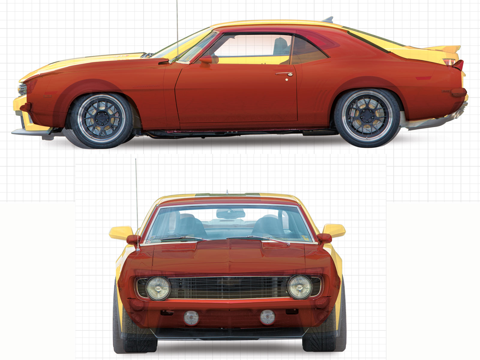 This comparison reveals the size diference between the two cars. The new ZL1 has a wheelbase of 112.3 inches and a track width of 63.7, while the '69 stretches 108 inches with a 59-inch track. The ZL1's wider stance is a handling advantage. Its 4,120 pounds are not, especially in competition with the Red Devil's 3,550.
