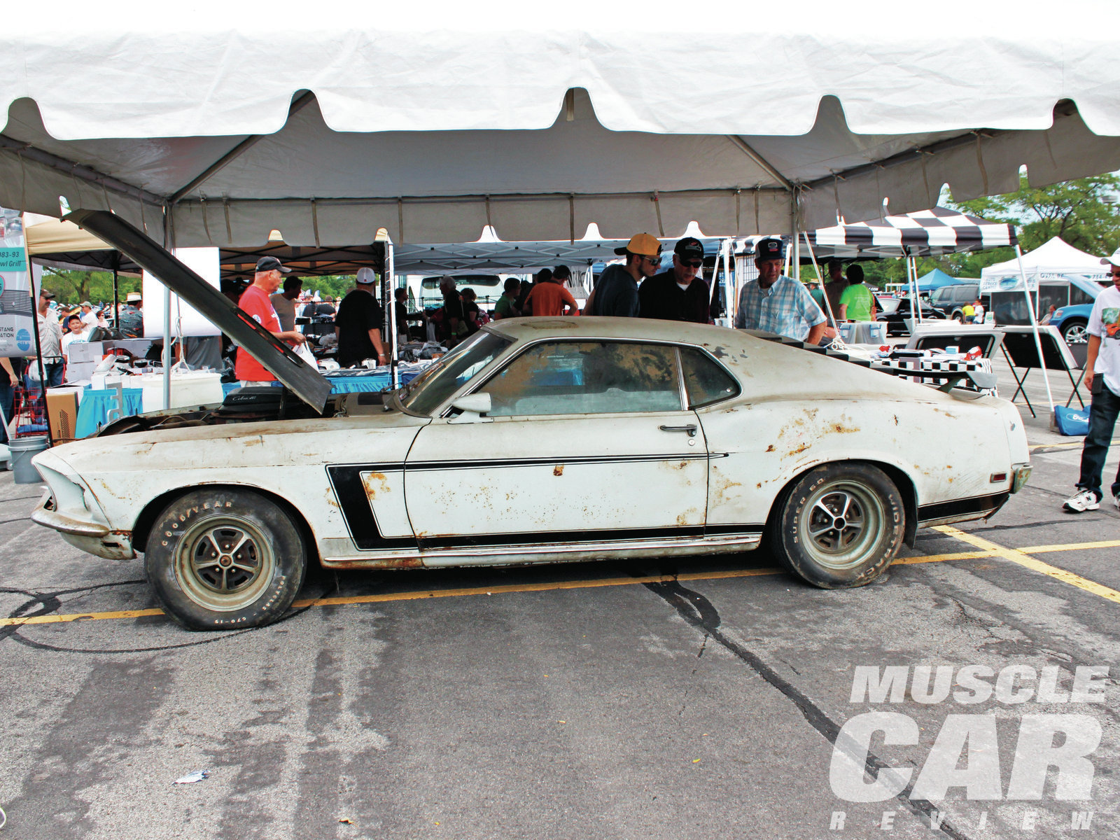 """The Mustang Memories All-Ford Car Show is held adjacent to Ford's world headquarters building in Dearborn. John Grafelman displayed the Shinoda prototype Boss 302 at the show, still in its as-stored condition (""""Long-Lost Boss,"""" June '11). He plans to restore the car in time for the Mustang's 50th anniversary. """"Larry would have wanted it that way,"""" he told us."""