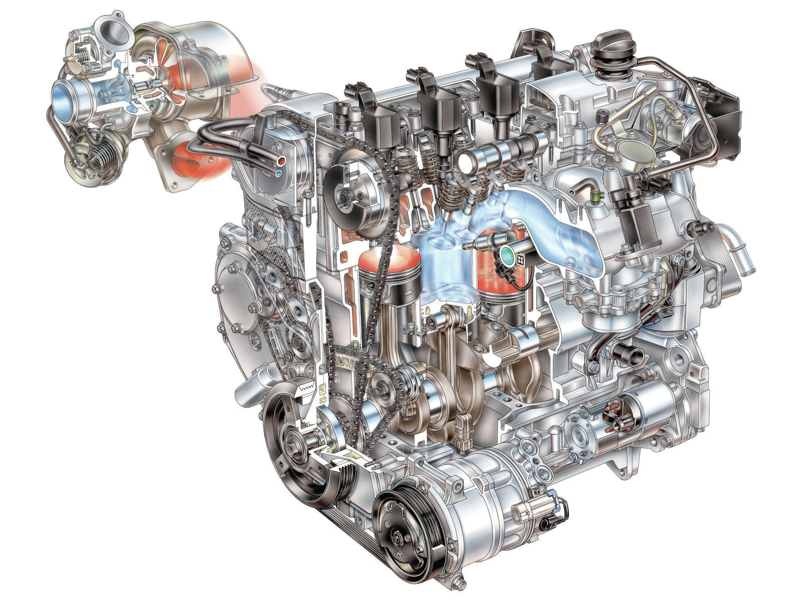 The GM Ecotec Gen II 2.0L (122 ci) engine has DI, a dual-scroll turbo, and continuously variable valve timing for both intake and exhaust valves. Rated under conservative SAE J1349 standards, it pumps out 260 net horsepower. That's more than 2.13 hp/ci, one of the highest output per cubic inch of any production automobile engine ever! There's already a factory upgrade package for it.