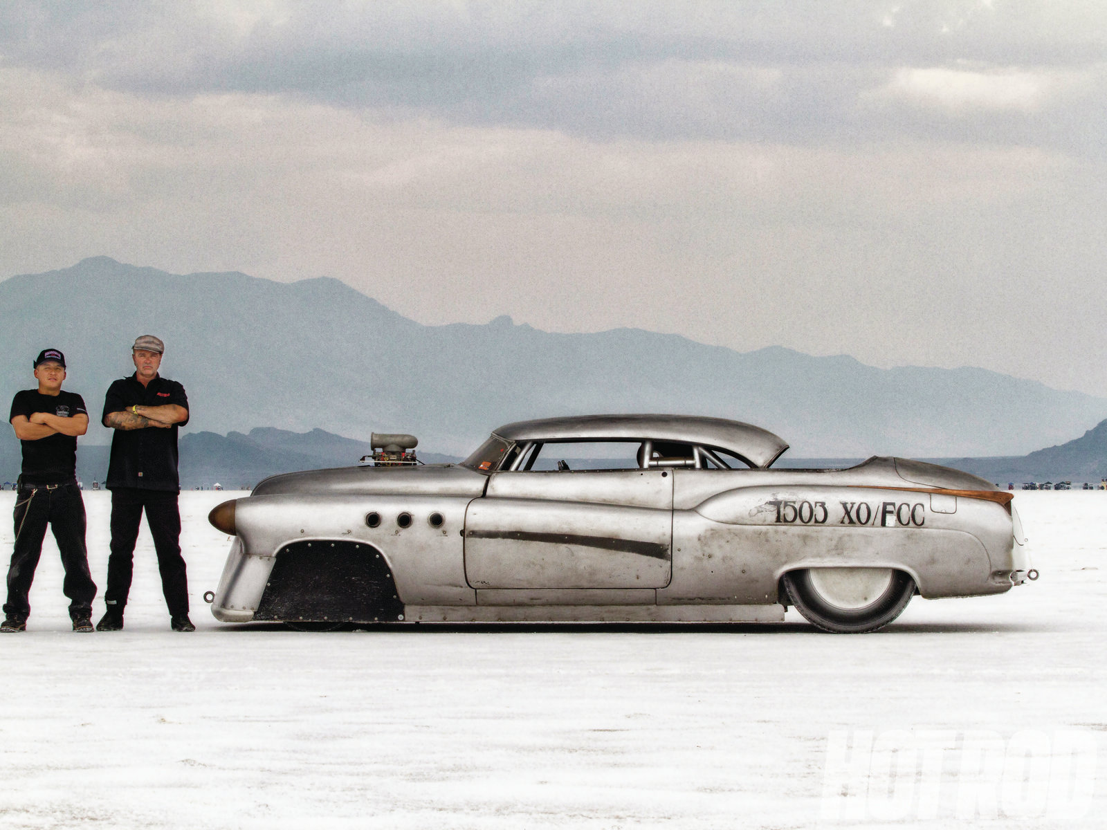 The radical 8-inch chop reduces frontal area and is key to the aerodynamic success of the large-bodied Buick. That's Sergio Juarez on the left and Jeff on the right.