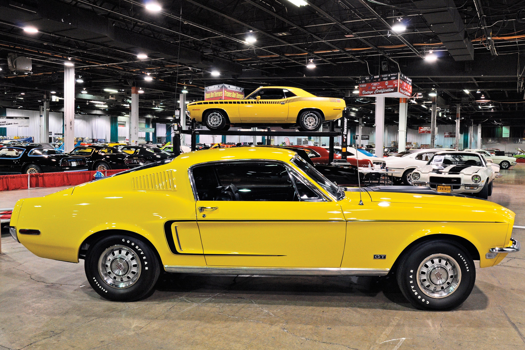 This '68½ 428 Cobra Jet Mustang is one of 171 built in the San Jose plant, and the only Special Paint Cobra Jet with 4.30 gears. Behind the Mustang is the Vintage Certification group of cars, where authenticity is judged and evaluated for participants.