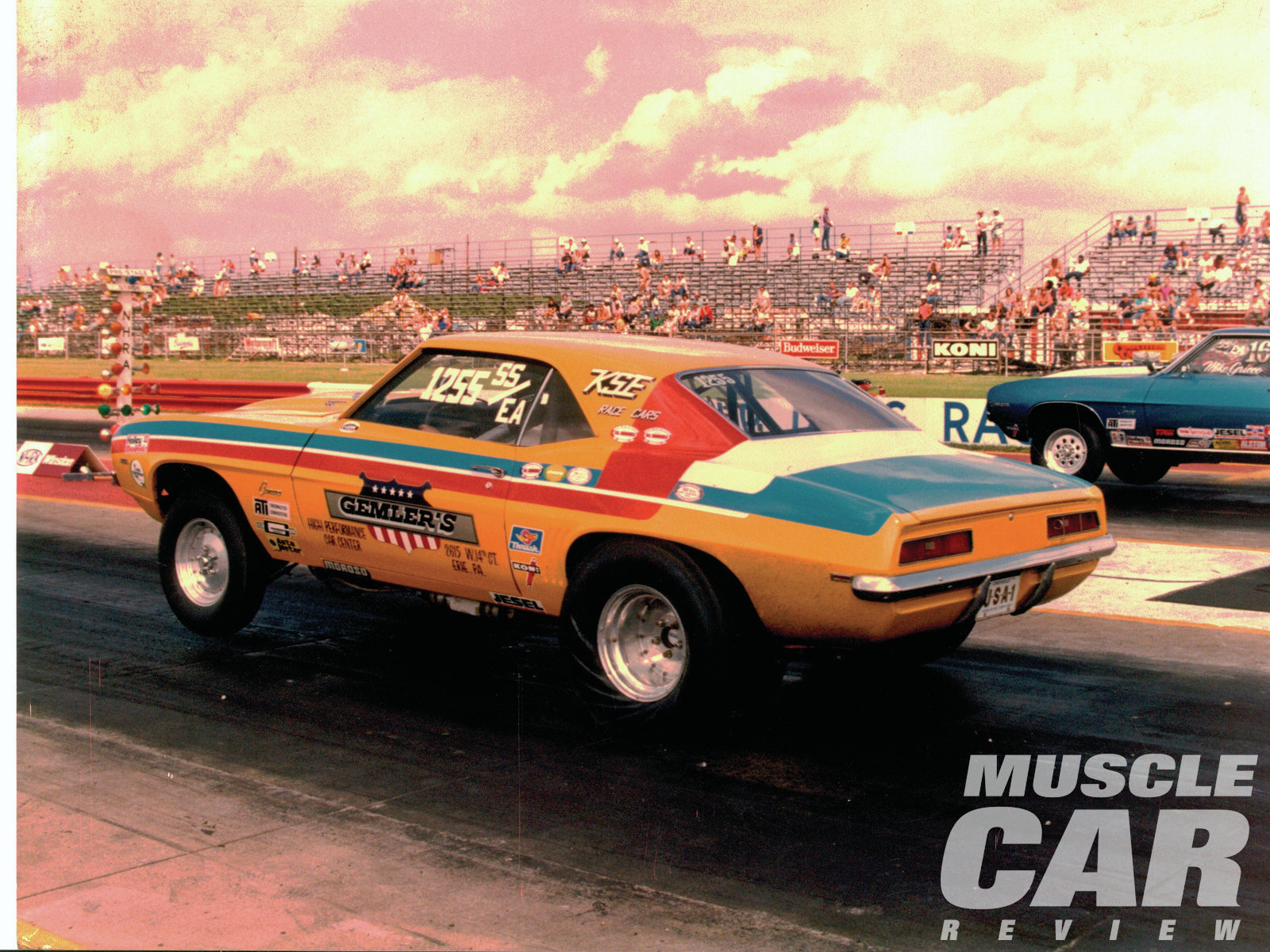 By 1975, Jere's Camaro had become a full-fledged NHRA-legal Super Stock class car, running a best of 11.10 at 131 mph. Note that at this point, all of the distinguishing trademarks that made it a Yenko have disappeared.