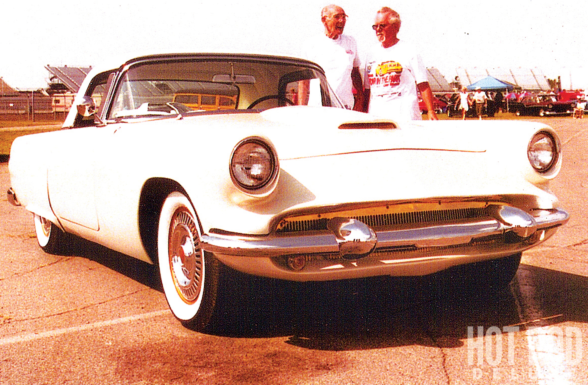Bob Kaiser (left), one of the two men who did the customizing in eight months during late 1955 and early 1956, never saw the car again until he happened upon Don Morton (right) at this Michigan International Speedway car show, 49 years later. Bob, who died a few months after this 2005 photo, and his late partner, Ron Clark, left behind an enormous legacy of Clarkaiser customs, of which the Golden Bird may by the slickest.