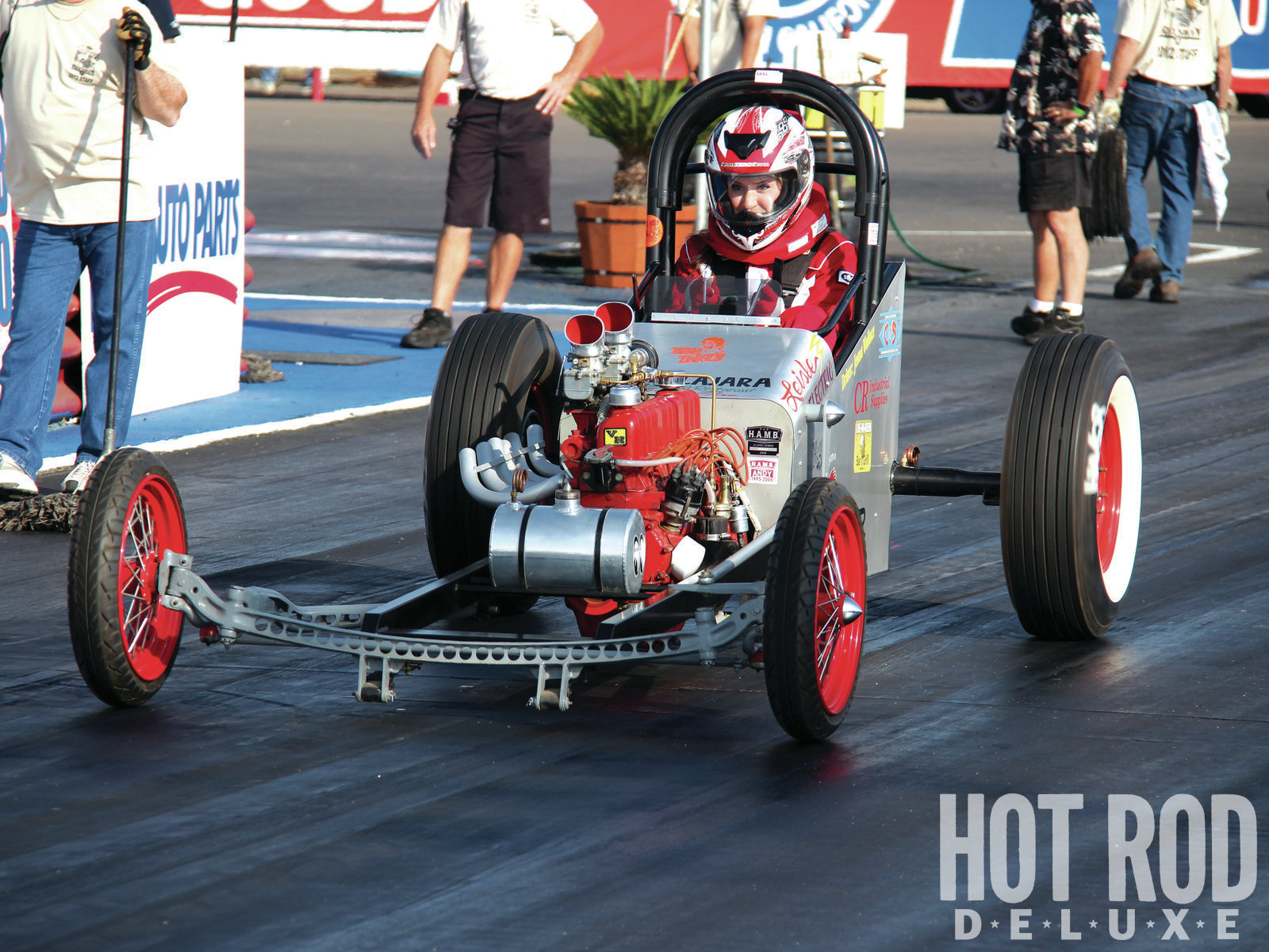 "H.A.M.B. Dragster is a class based on the earliest ""rail jobs."" Minimal rules encourage any wannabee to start racing, even with a pint-sized budget. Jeana Wallace's 170ci, inline-six combination is a top contender in the category created by Hokey-Ass Message Board members."