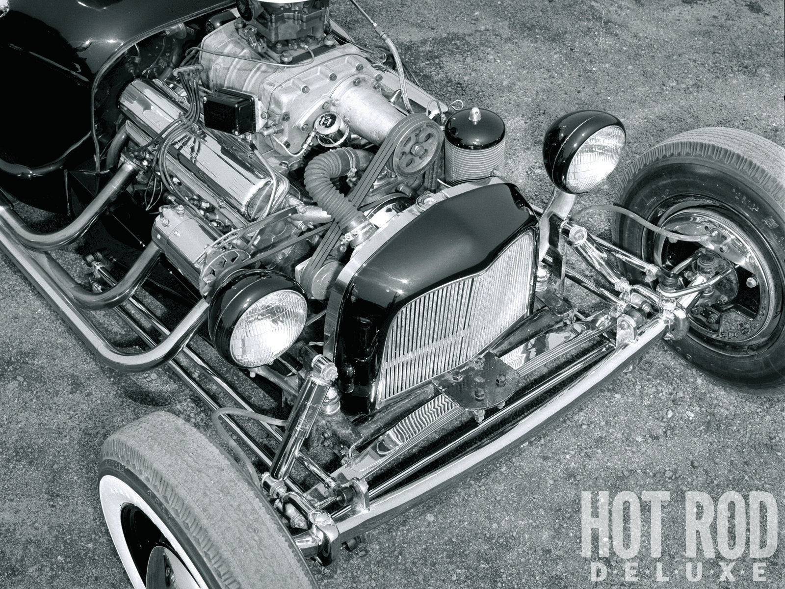 Top-mounted superchargers were still relatively rare at dragstrips, so imagine the stir this exposed GMC 3-71 created on the street. To make room for a '52 Cadillac V8 and custom radiator, Norm stretched the front frame by reinstalling 5-inch lengths of the leftover rear rails and reversing a set of '40 Ford spring hangers on the '37 Ford axle. The steering box and shortened column came from a '38 Chevy. A late-model Ford donated its hydraulic brakes.