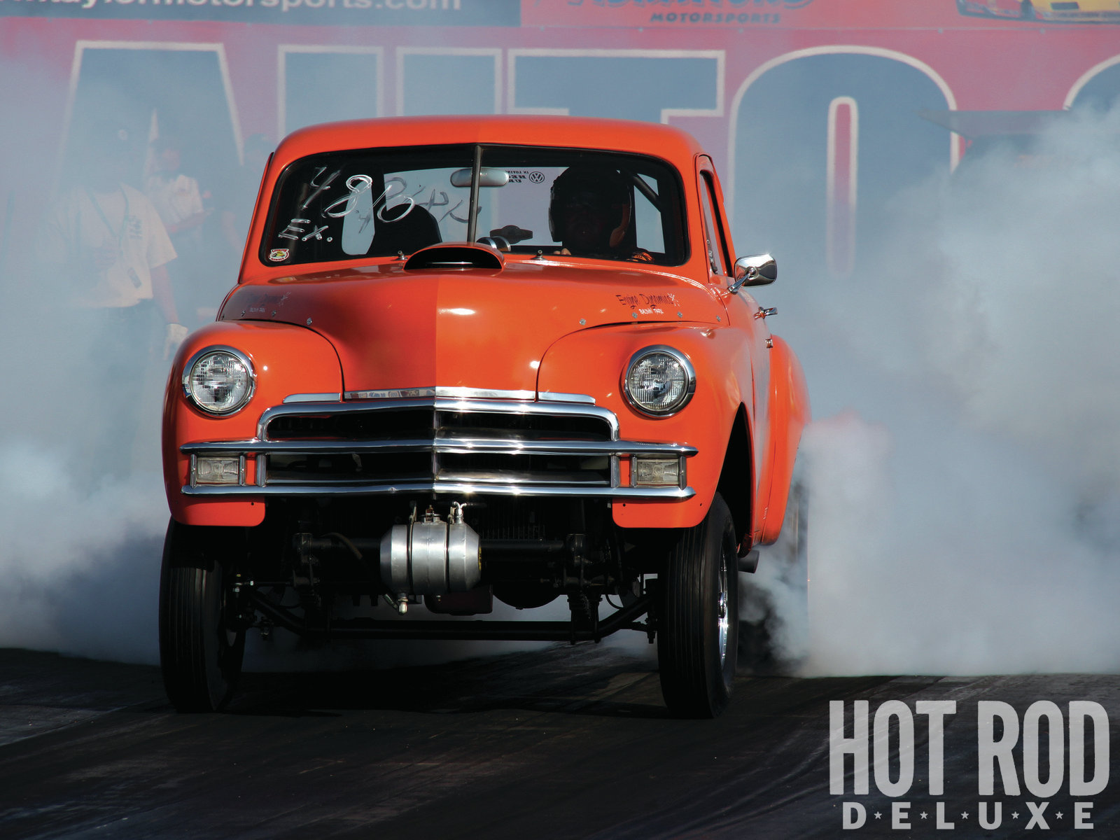 Paul Soliz's 502 Chevy-powered '50 Plymouth coupe was built in the '60s and produces more smoke than ever, immediately followed by mid-11-second bursts.