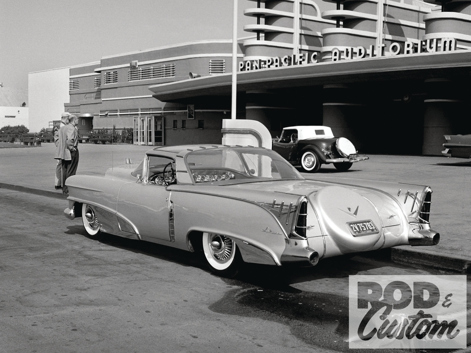Parked in front of the Pan Pacific Auditorium is the Barris restyled, ex-GM showcar the Cadillac LeMans, owned by actress Marie McDonald. Photo by Eric Rickman/Petersen Archive.