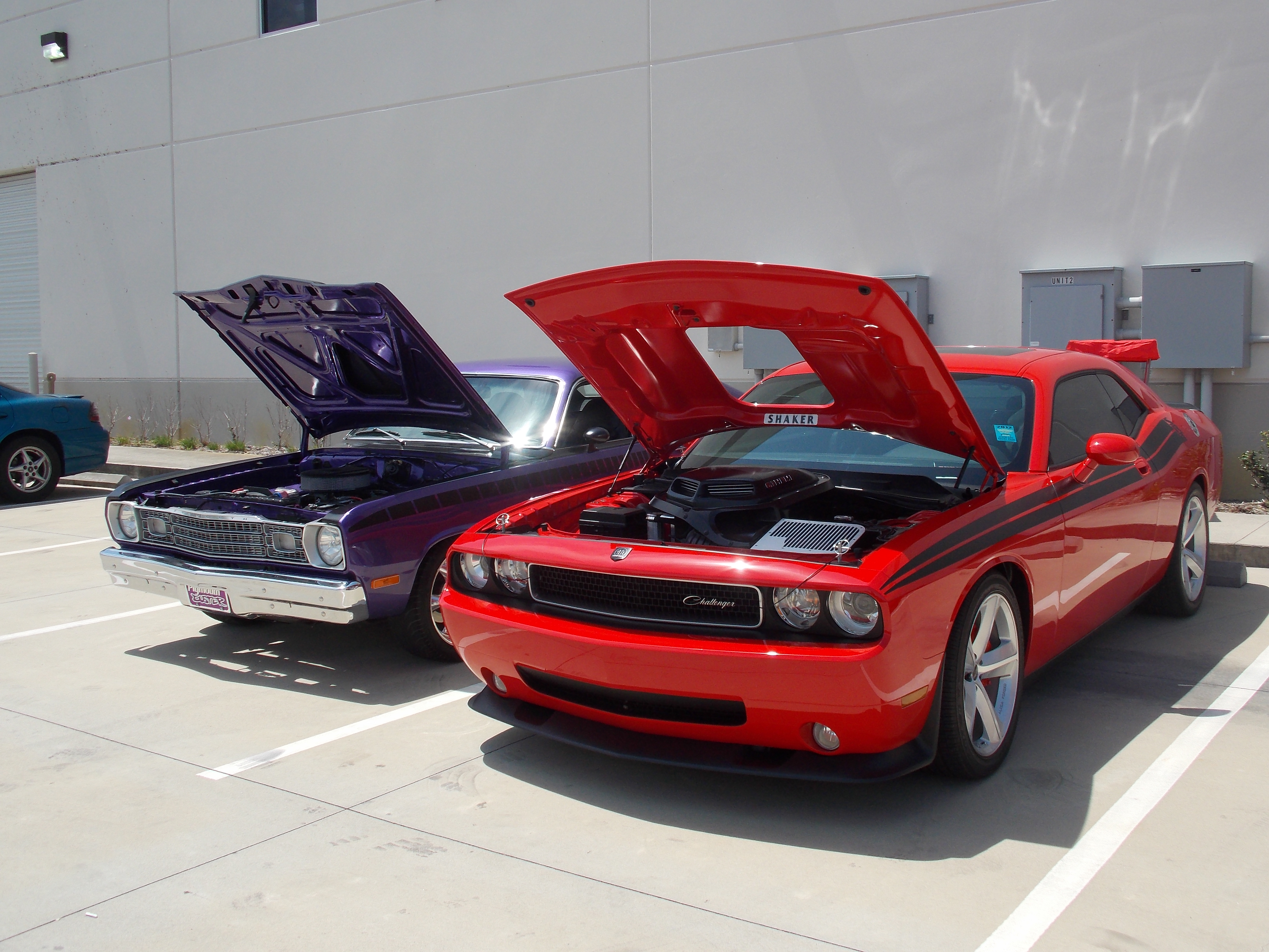 This Plum Crazy Purple 1973 Plymouth Duster owned by Jeff Fox and 2010 Dodge Challenger owned by Dave Sheehan were two beautiful examples of Mopar Muscle.