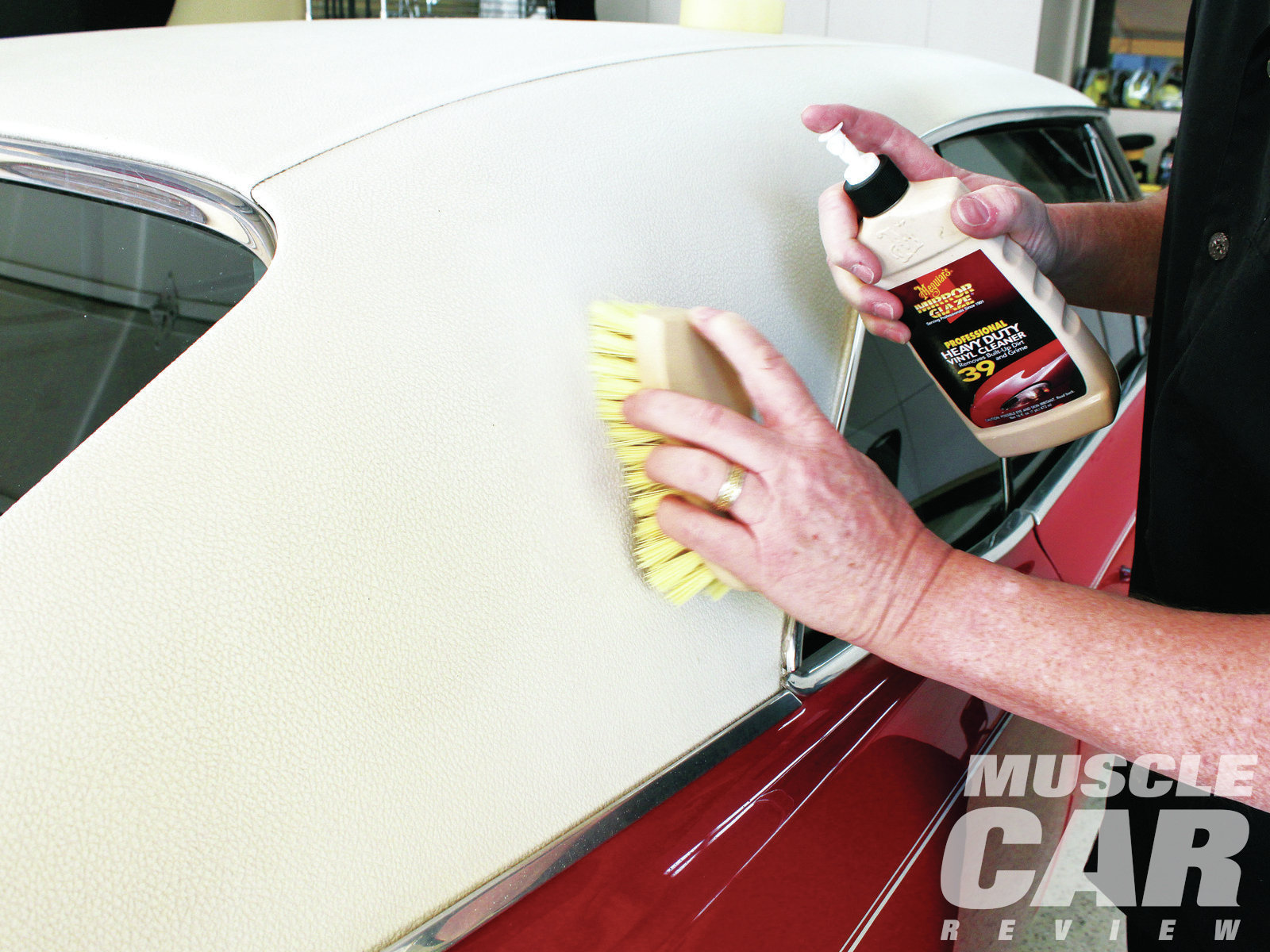 Though this story is about paint care, we also asked Mike for a recommendation on how to treat the GTO's vinyl top. Meguiar's makes a professional-grade Heavy Duty Vinyl Cleaner that you spray on and then work into the vinyl with a brush. You have to buy it at a paint and body equipment store, but the results are worth it.