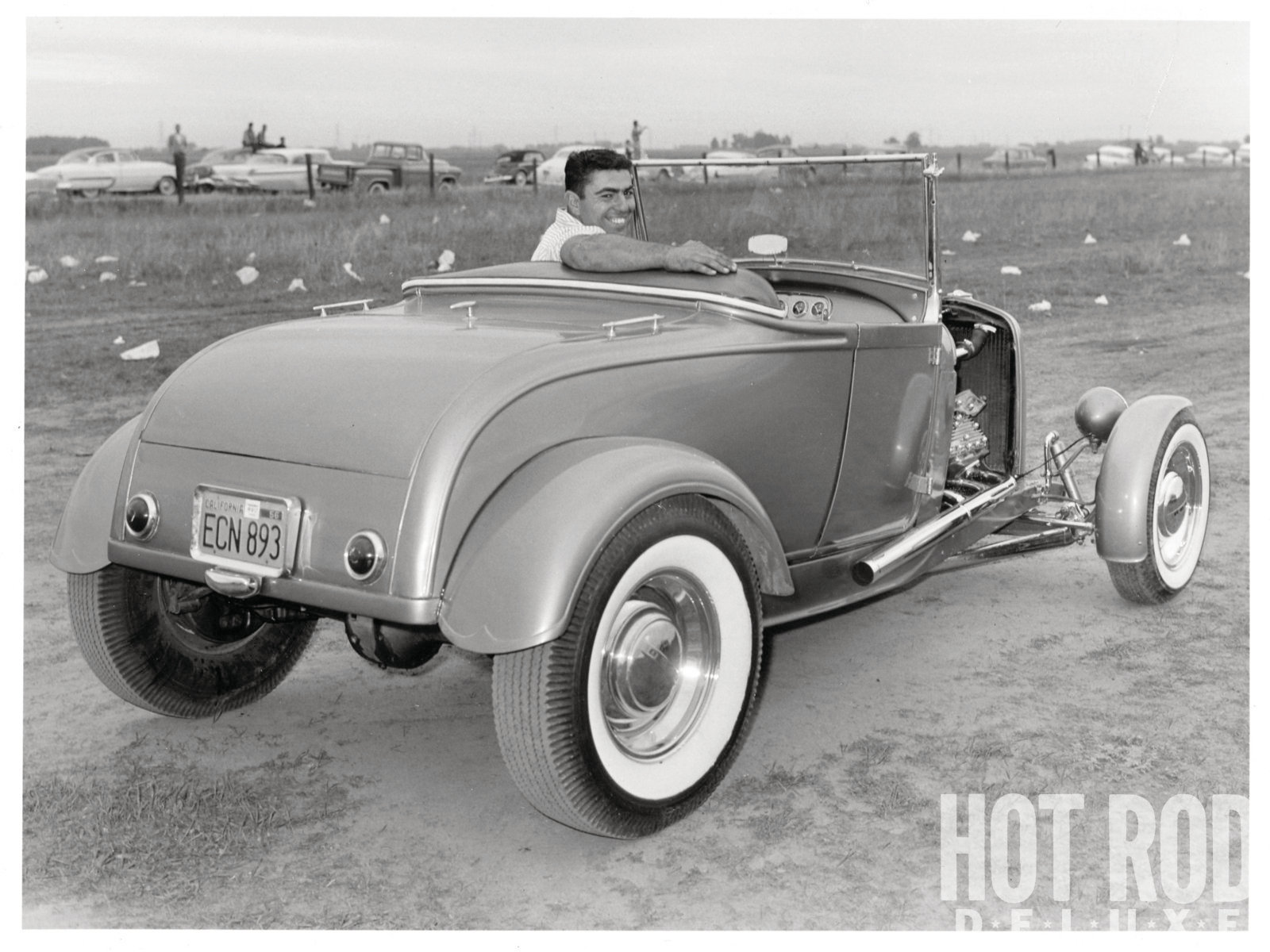 Still a teenager in 1957, Rich Guasco looks as proud as he ought to be of his silver-blue roadster. The 1⁄8x1⁄8-inch Merc flathead with Offenhauser heads, a Weiand three-pot manifold, and Harman and Collins ignition was strong enough to push the '29 to a speed of 102 mph at Kingdon Drag Strip in Lodi. The split front wishbone, '39 Ford trans, and '48 rearend followed standard '50s hot rod practice.