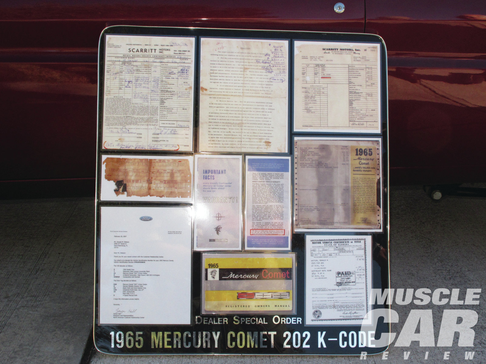 Anyone doubting the provenance of this rare Mercury can read all about it on Don's display board. He has kept every scrap of paper for the car since he ordered it new.