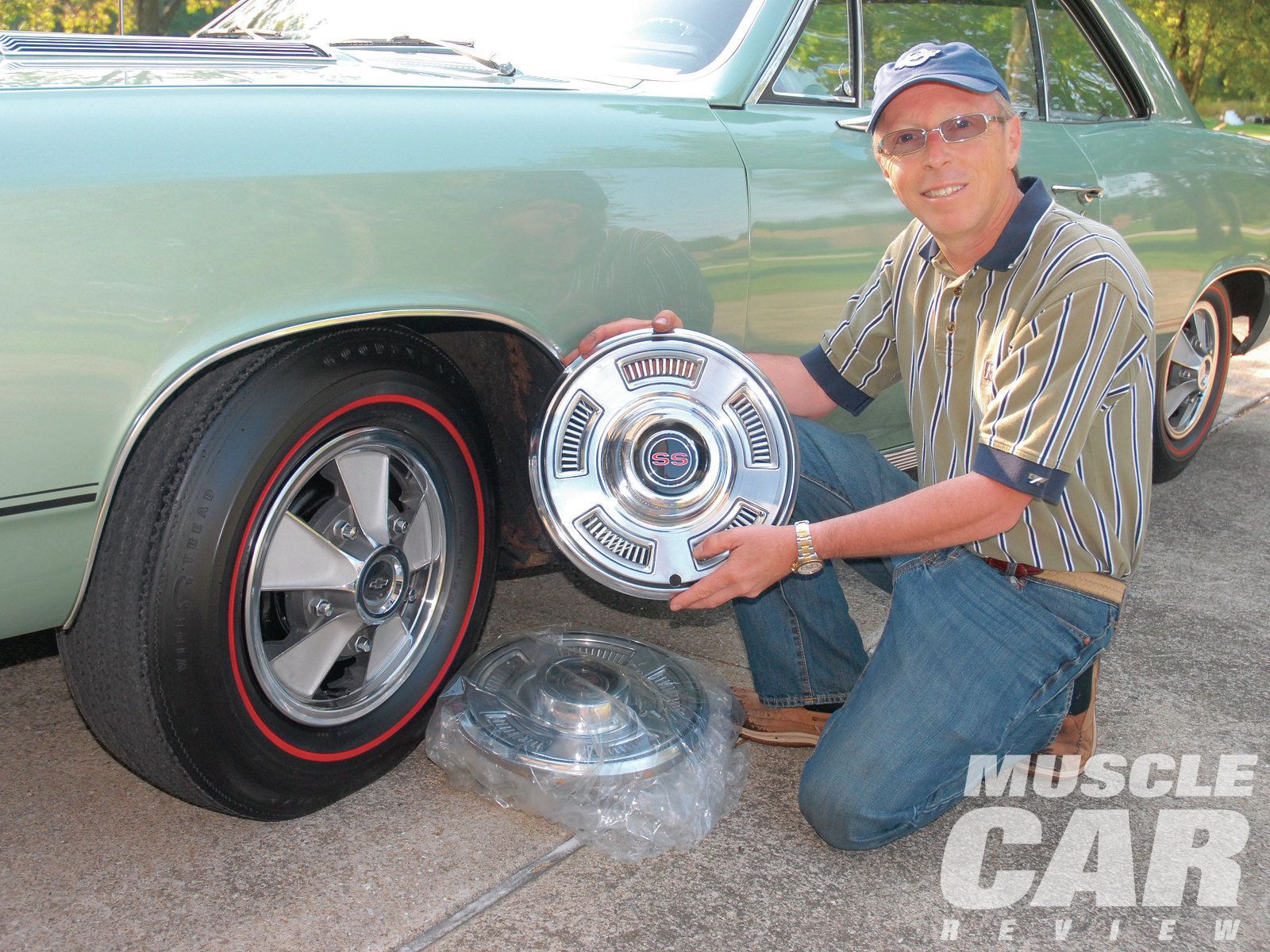 George, the Chevelle's third owner, replaced the original F70-14-inch Firestone bias-ply whitewall tires with a set of Coker Firestone reproduction F70-14-inch red-stripe tires. He further spiffed up the car's appearance with a set of '67 simulated magnesium wheel covers. But George still has the OE SS full wheel covers, which, like the OE tires, are stashed away for safekeeping.