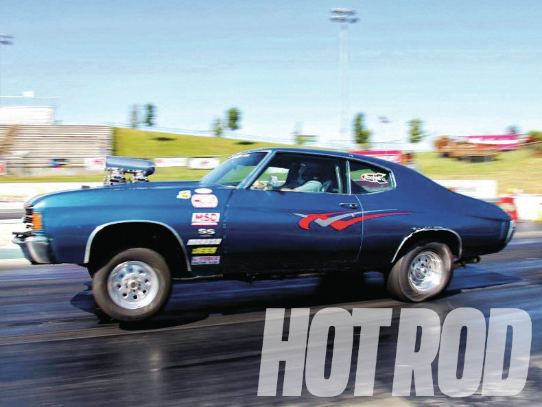 Houston resident Mark Taub has been on the last three Drag Week™ trips with this '72 Chevelle. His off-season upgrades focused on curing the car's cooling issues, finishing the rollcage, adding a trailer hitch, and figuring out why the blown, 990hp big-block stumbles when the wheels leave the ground.