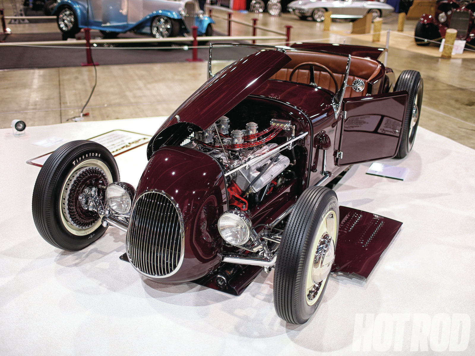 As displayed, the '13 AMBR winner features a Steve Davis–fab'd track nose and hood and rare Kinmont disc brakes all around. Rather than displaying over-the-top gimmicks, components, or fabrication, the roadster epitomizes the height of traditional roadster building. Even the way it was displayed was trad. It would appear that this type of approach is being rewarded at the Grand National Roadster Show, based on the last three years of the new judging.