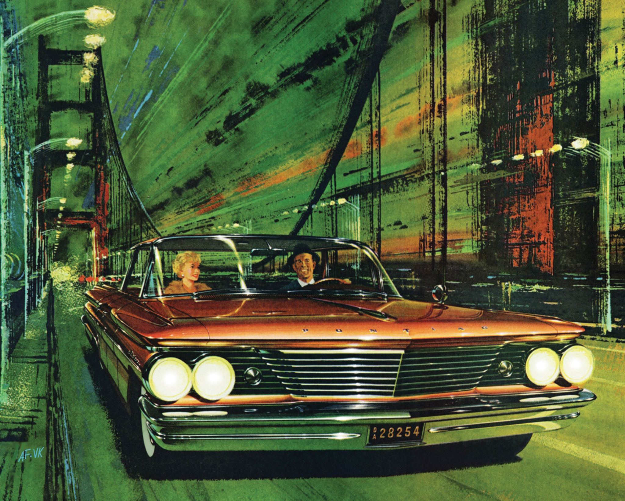 Fitz and longtime collaborator/background artist Van Kaufman were the first to introduce the strobe-light effect into automobile advertising art with this '60 Pontiac Catalina illustration titled Copper Strobe.
