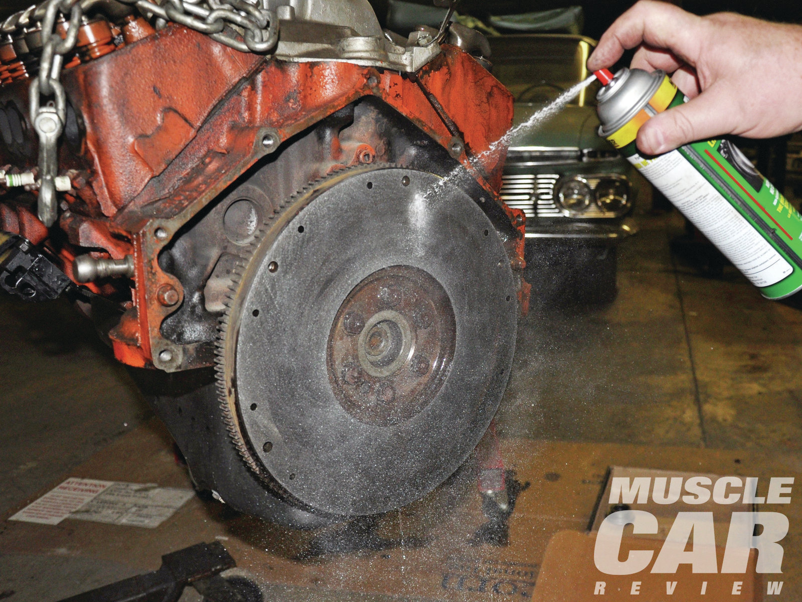 After the flywheel was properly torqued, a brake cleaner or similar product is applied to remove any grease and fingerprints left there from handling.