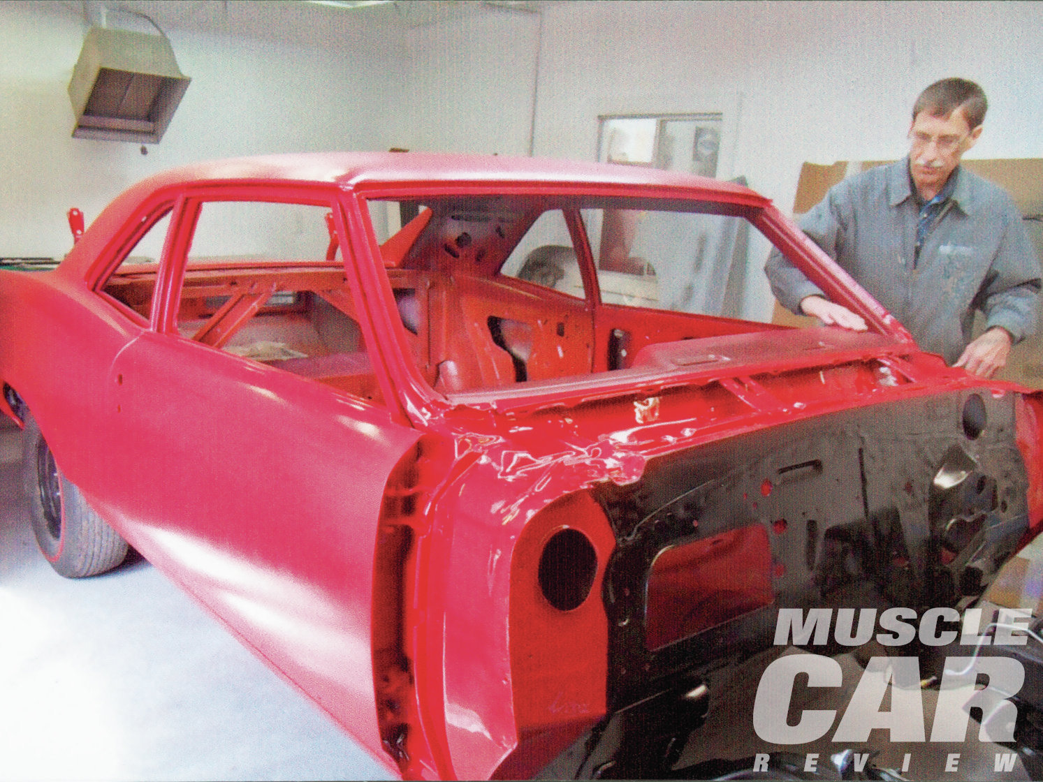 Dennis's GTO turned out for drag racing in June 1975 and while it was undergoing its rotisserie restoration at J&B Classics. Because Dennis never had the car out in the winter, its original sheetmetal was perfect.