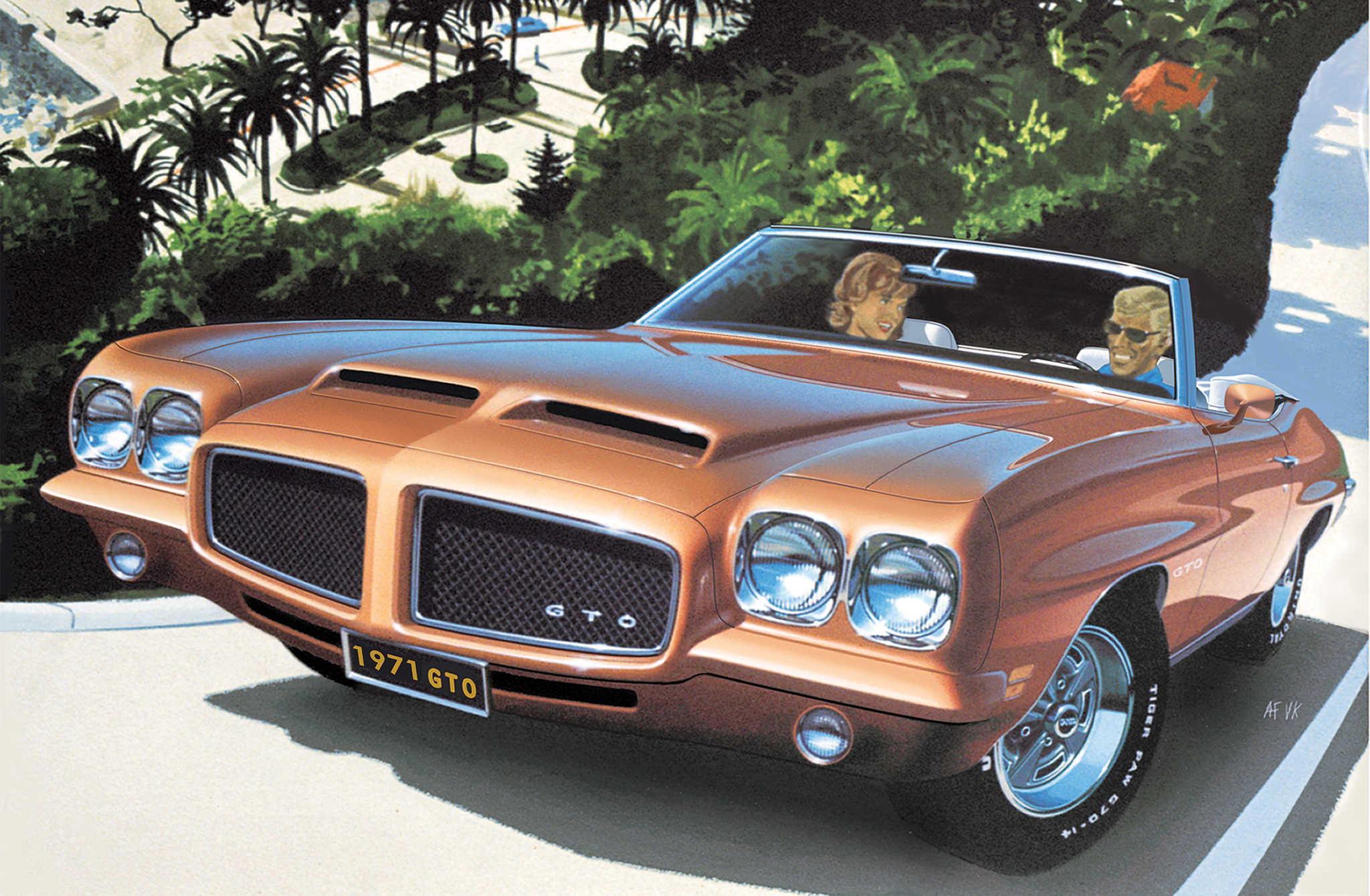 Road to Eze is one of many Fitzpatrick/Kaufman paintings that make use of actual photographs taken by the artists during their extensive (yet separate) world travels. Note there are two versions of the painting, one featuring a '71 GTO hardtop and the other a convertible.
