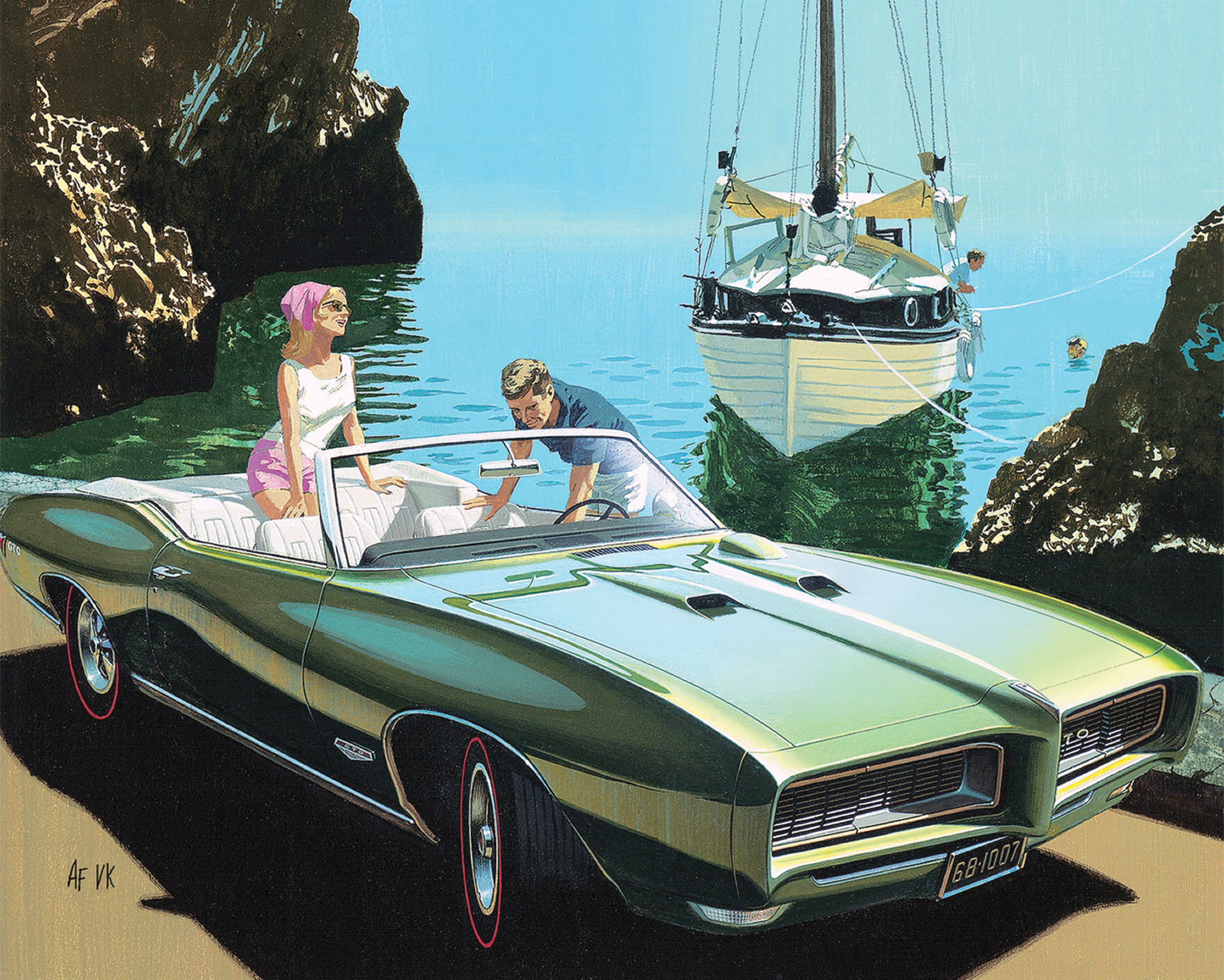 Corfu Cove was taken from an actual photograph, as were many of the backgrounds Fitzpatrick and Kaufman used in their work. This particular painting features the artist himself. See the skin diver in the water? That's Art!