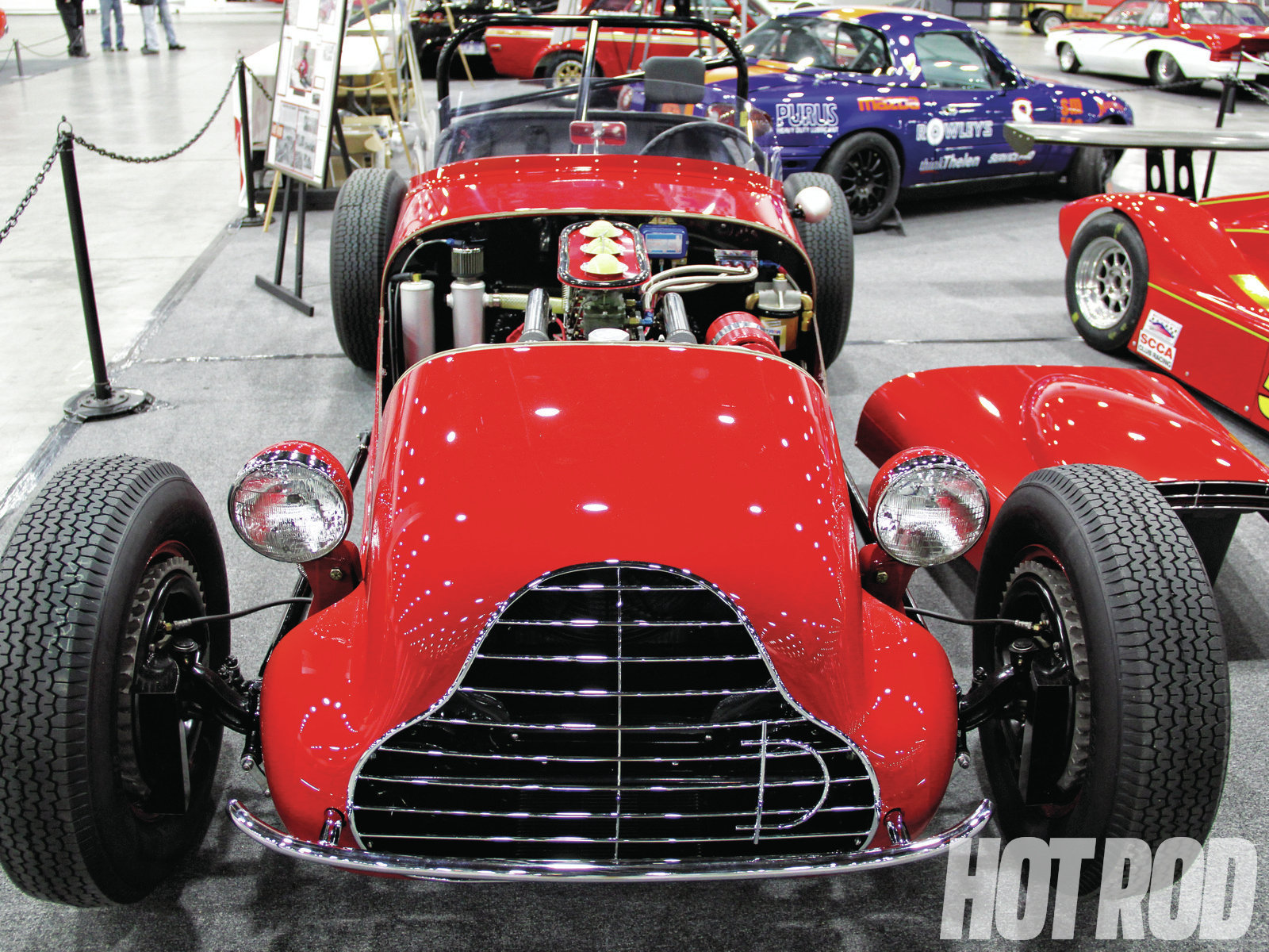 The Autorama has more than just show cars. In fact, at least a third of the cars in the building were race cars, some of them quite unusual, like the Garrett Van Camp's Davis Special, a one-off hillclimb car built in the '50s with modified '40s Plymouth and Chevy sheetmetal on a '41 Ford chassis and powered by a '47 Ford flathead.