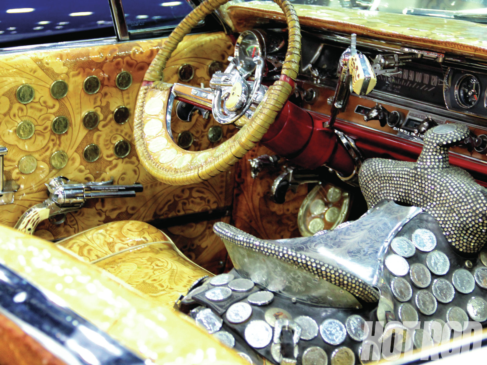 """So understated is not exactly the theme here. Kid Rock's Pontiac Bonneville, originally built for Hank Williams Jr. by Nudie Cohn, country music's """"Rodeo Tailor."""""""