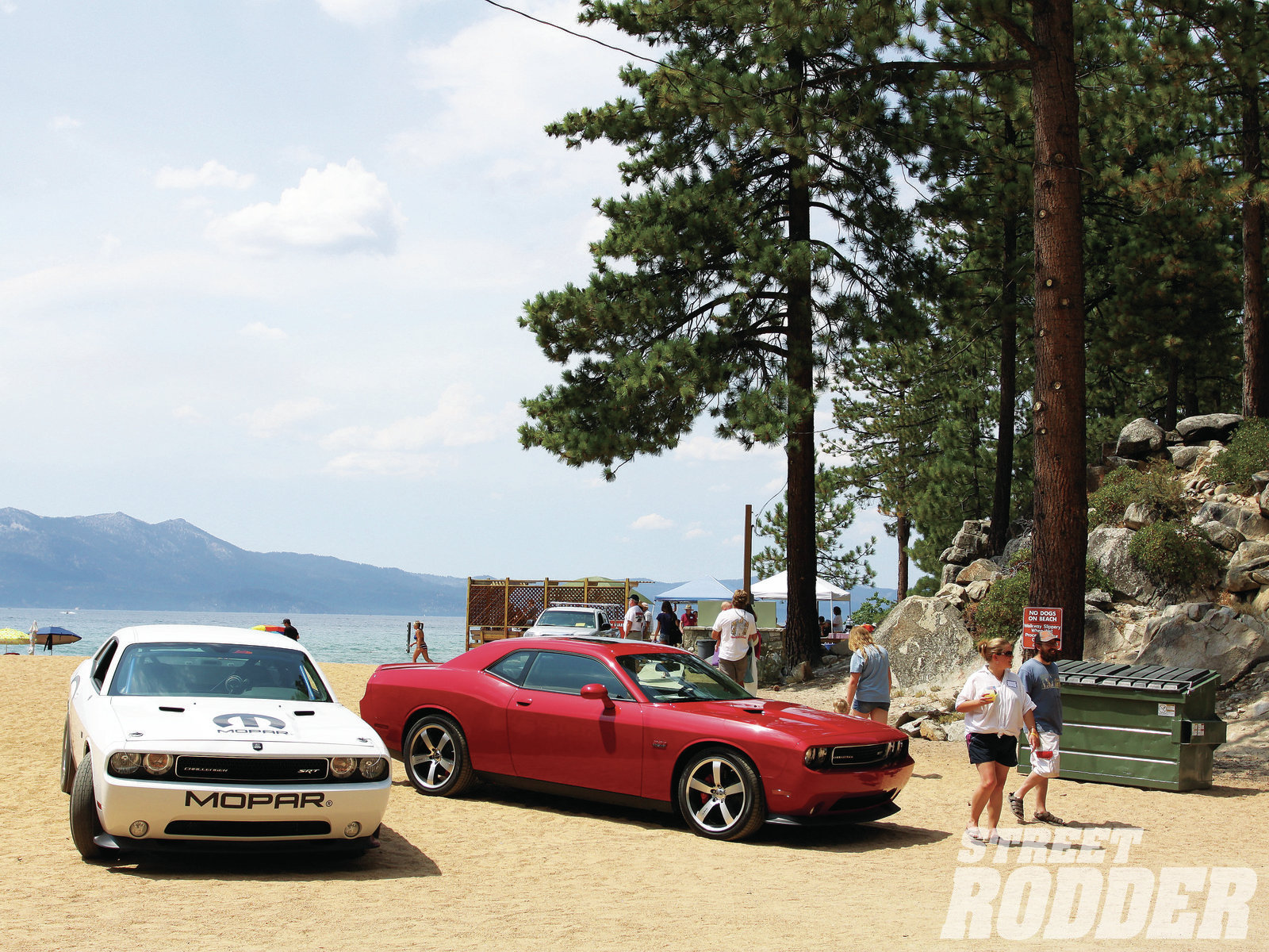 The 840-horse 2012 Drag Pak Challenger driven down to the shore of South Lake Tahoe … we've got the video to prove it.