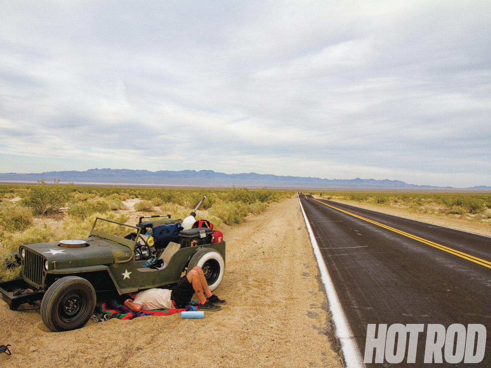 The shifter stopped shifting an hour into the trip after the nut and bolt connecting the linkage fell out, but we didn't fix it until the next day, when we stuffed the Willys into a berm on the side of the road while trying in vain to make a U-turn.