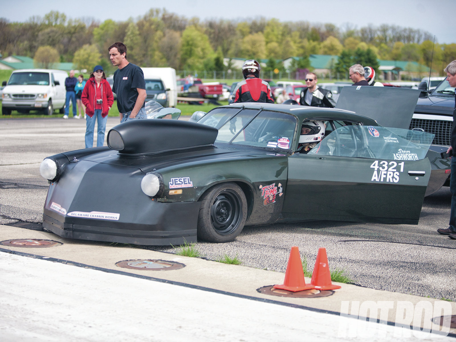 """The Matyjasik brothers were running a Buick NASCAR engine that was good for 208.530 in the A/Fuel Real Street class with Mike Matyjasik behind the wheel, fast enough to take the win in the class and earn a trophy jacket. When his brother David took the wheel later in the C/Fuel Super Street class, the '71 """"Time Bomb"""" Camaro clocked a 205.010. Note the disco-ball headlight covers the brothers vacuum-molded from PVC recessed lighting diffusers."""