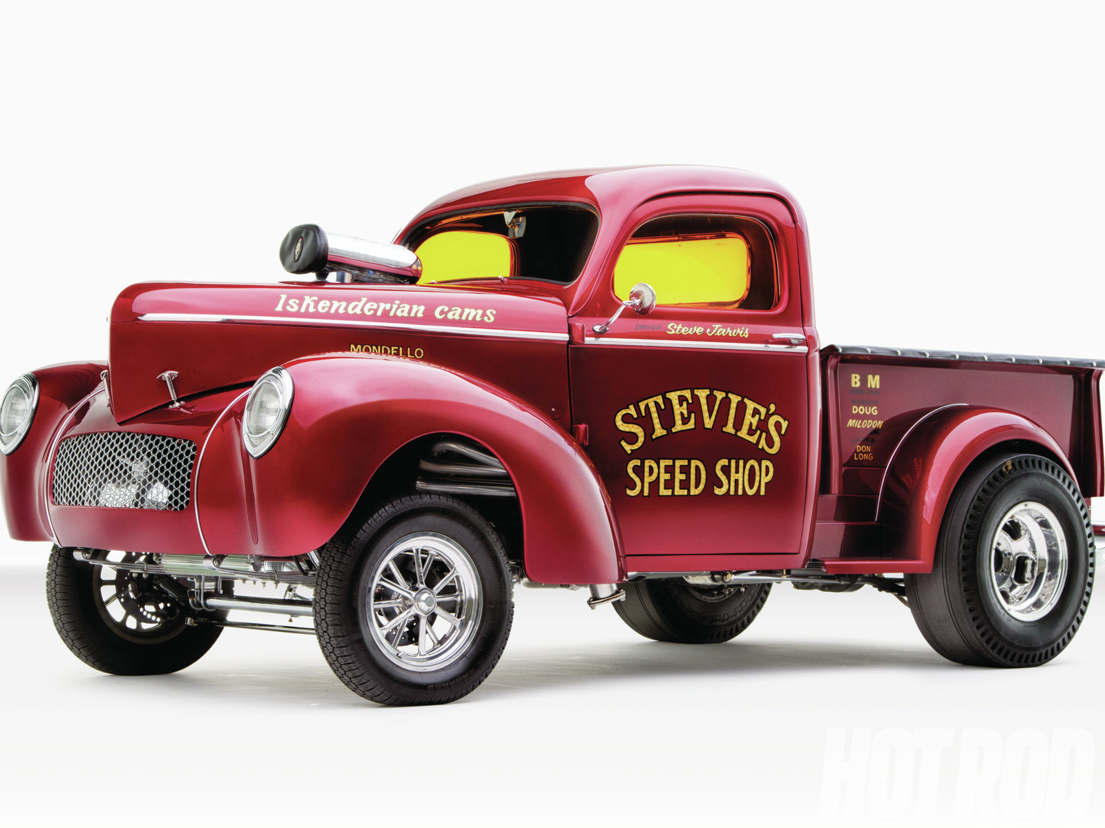 Steve purchased this 1941 Willys truck in 1986 for $1,800 but didn't start on the restoration until almost 20 years later. The basecoat is Inferno Red, a factory Plymouth PT Cruiser color, covered in candy red. We'd venture to say this is the best-looking vehicle to ever wear this color.