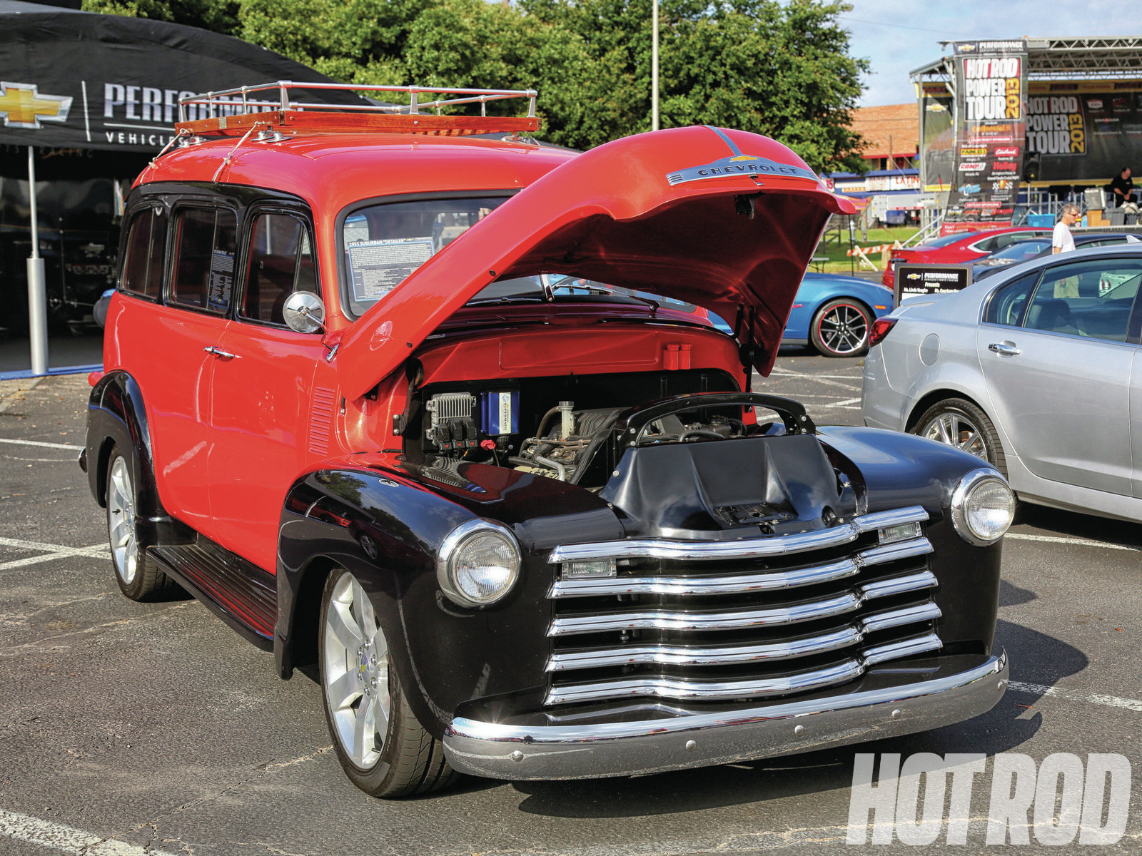This 1953 Suburban was built in 2010 to celebrate 75 years of the Suburban; it was also at the '11 Power Tour® and is powered by a supercharged LSX 376 crate engine. The body was widened 2 inches to fit over the chassis of a Chevy TrailBlazer.
