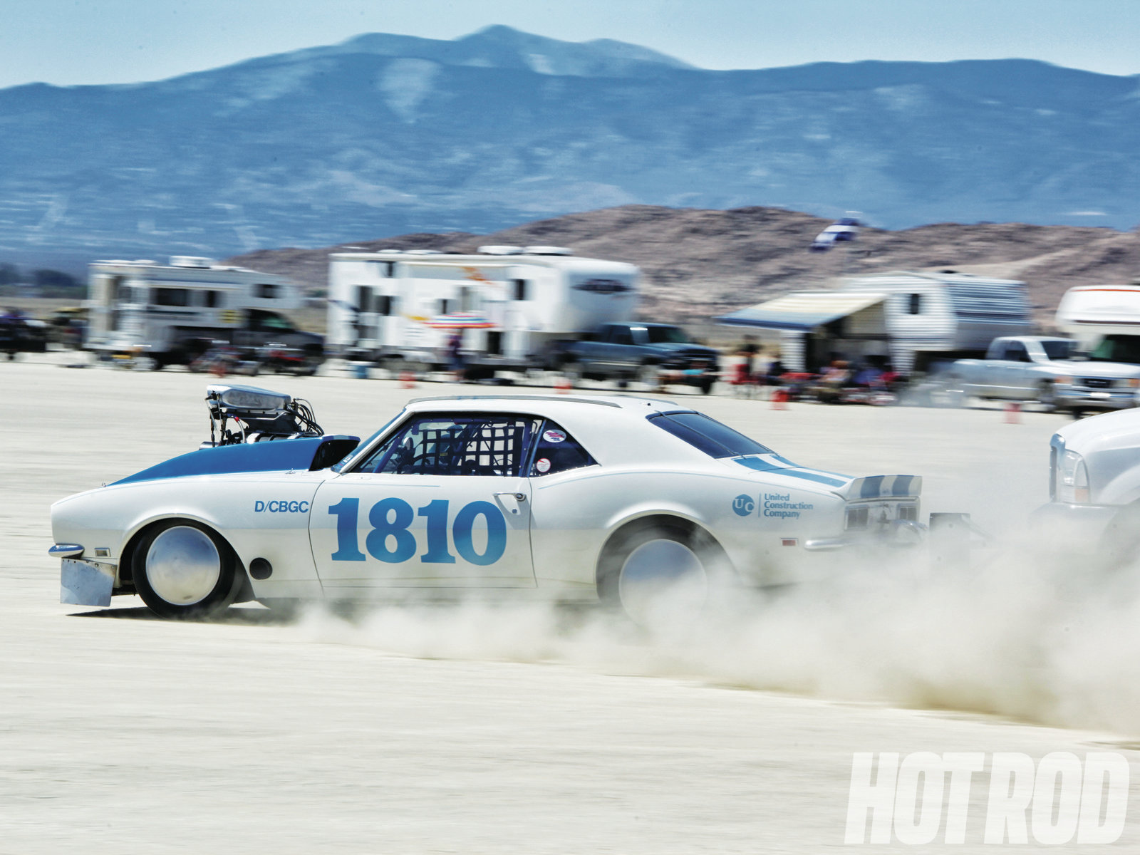 We see more classic muscle cars at Elmo than we do on the salt, though many of them struggle with aero. This '67 Camaro with a screw-blown 302 has been thrashing against a 196-mph record that's been held by a Pinto for 22 years, and finally beat it in May 2013 with a 197.390.