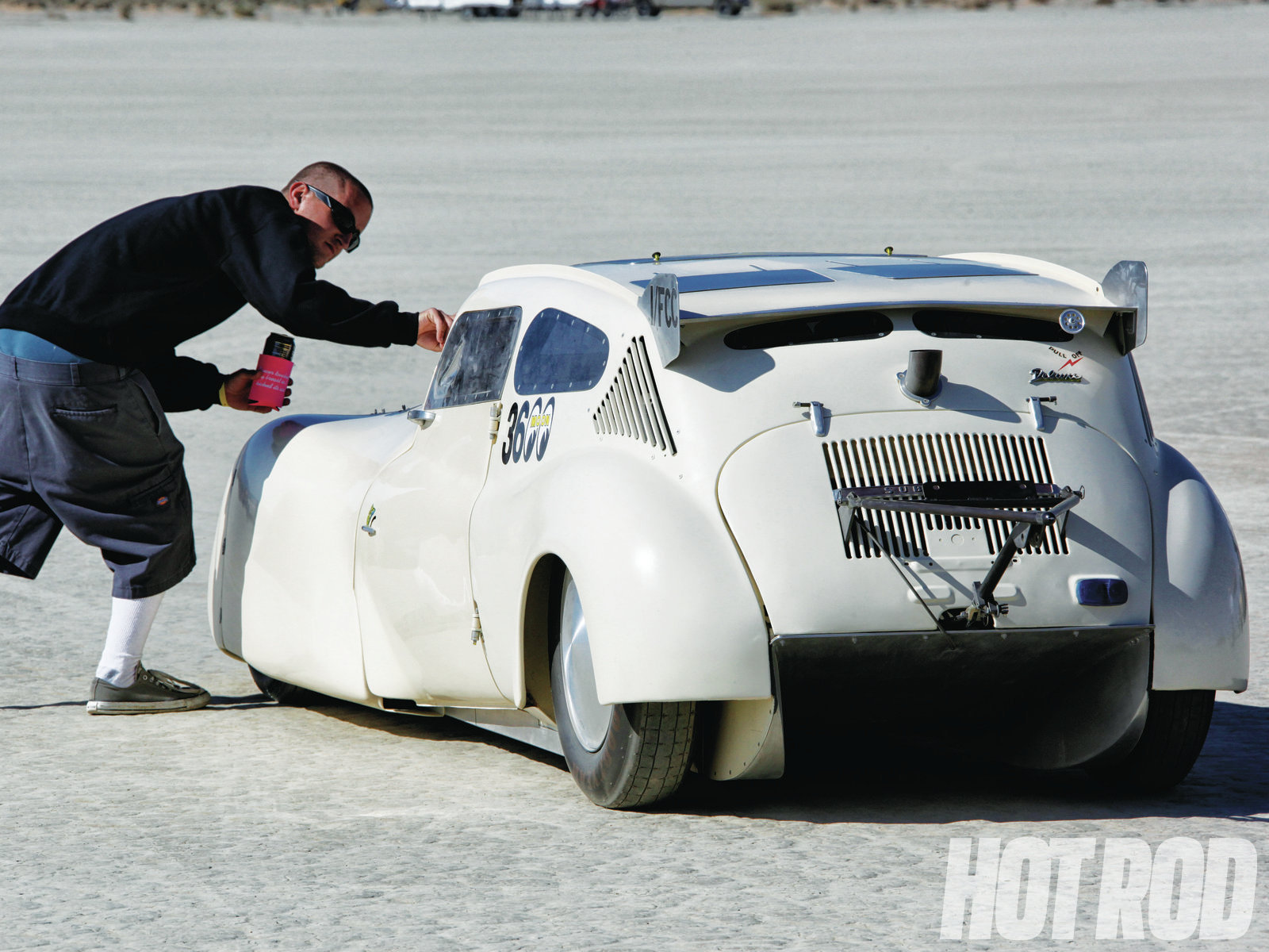 """Larry """"Axle"""" Foley works for Mike Kilger Metalworks, where he built this heavily chopped '69 Subaru 360 powered by a Kawasaki Ninja motorcycle 900cc, four-valve, water-cooled engine in the front. It uses a Toyota rear axle and a VW link-pin front suspension."""