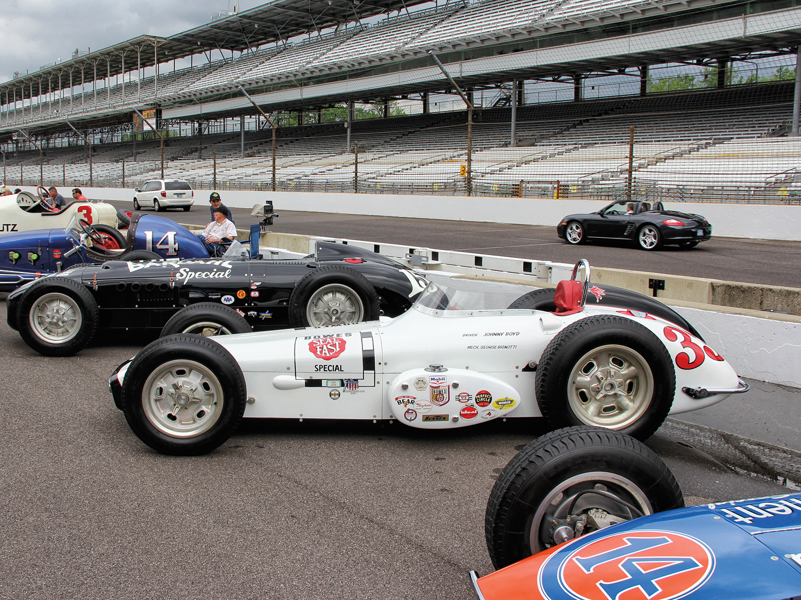 The Wednesday before the Indy 500 is Community Day, when locals are invited to check out the track and even take their cars out for a lap, as seen beyond the Bowes roadster. Behind the Bowes roadster is Akin's '53 Kurtis roadster, and in the foreground his other Epperly roadster, the Mid-Continent race car from the '62 race.