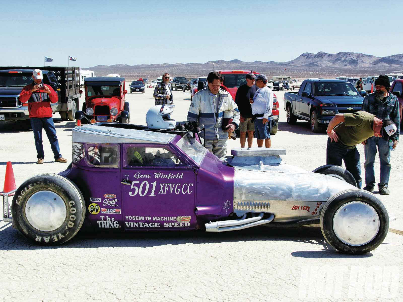 One of the regulars at El Mirage is well-known customizer and metal man Gene Winfield (in the driver suit) in a flathead-Ford-powered tribute to his The Thing Model T racer from the '50s.
