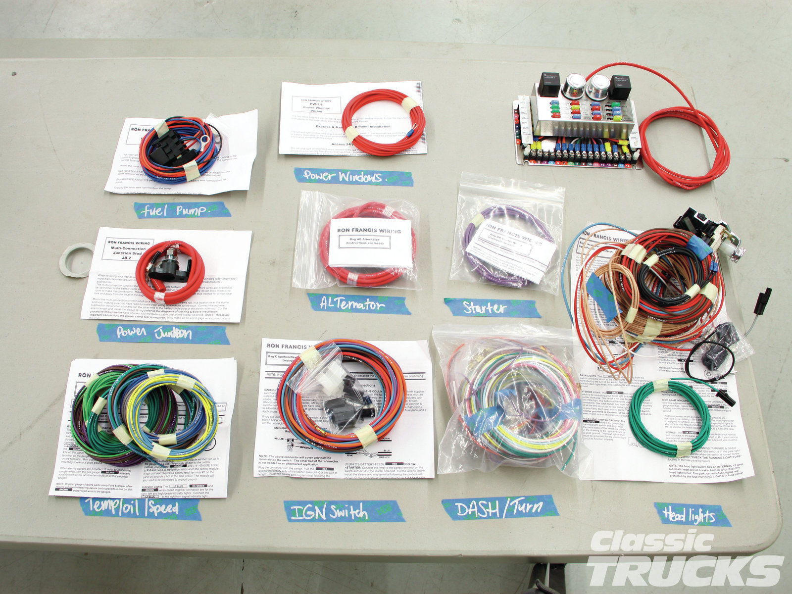 01. Here's a quick look at the Ron Francis Express kit and an easy way to lay things out. When you receive the kit, it has the main fuse panel and several well-labeled bags of wiring in the box. Upon opening a bag, I found detailed instructions inside to help with wiring. The needed connecters for headlights, headlight switch, etc., are also included with the appropriate wiring bag along with other connectors. Each individual wire is labeled with its corresponding part name which runs the length of the wire for ease of identification.