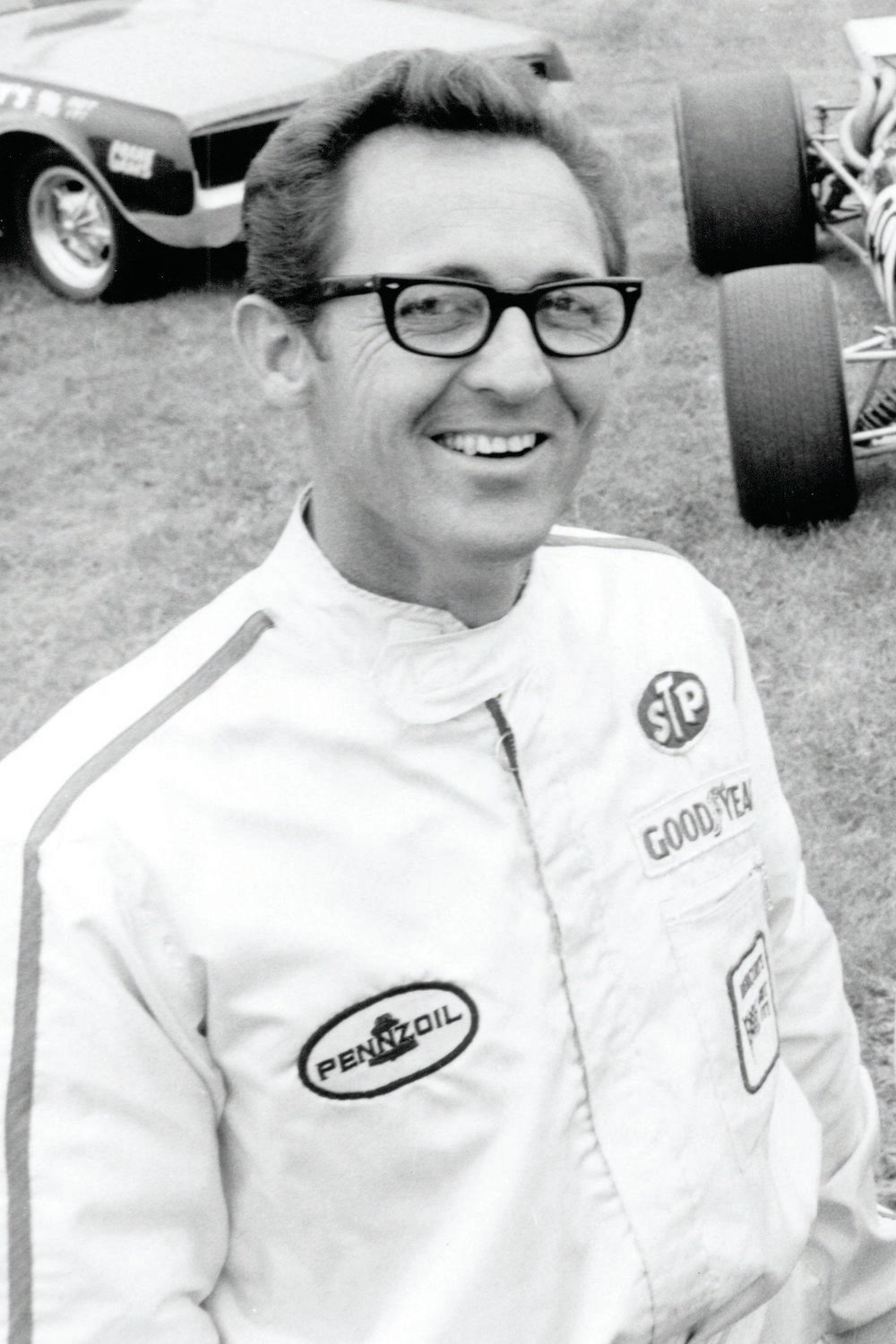 Here's the legendary Dyno Don in a 1968 publicity shot; he was the former Chevrolet dealership mechanic who parlayed a hot 409 into a factory Comet deal into a two-car team with Schartman and into the first ride in a factory-backed flip-top Funny Car. He match-raced and crashed, and rebuilt and raced some more, and eventually parlayed that into a very successful run in NHRA Pro Stock Mustangs.