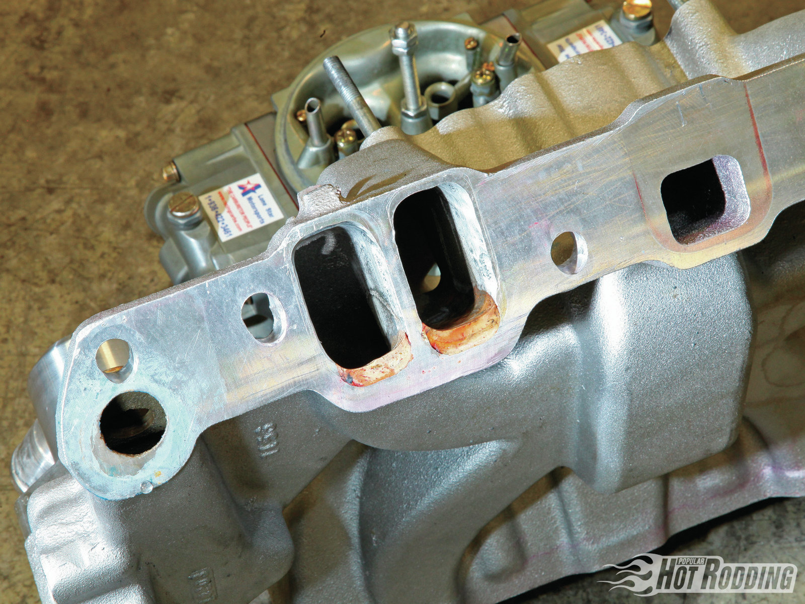 Modifications to the Edelbrock intake manifold were minimal, other than significant reworking at the port exits to match the modified intake ports of the heads.