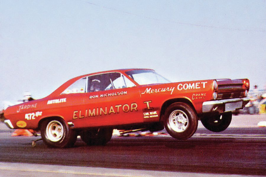 Here is a rare shot of the car that changed drag racing forever, the Eliminator I Mercury Comet flip-top Funny Car. It was designed by Lincoln-Mercury racing manager Al Turner, with the tubular chassis built by Logghe Stamping Company and aluminum and magnesium panel interior by metalsmith Al Bergler under a one-piece fiberglass body from Ford Design. The first car caught too much air at the AHRA Winternationals, the body was ripped off the frame on its maiden run, and it was subsequently destroyed. Aerodynamicists went back to the drawing board.