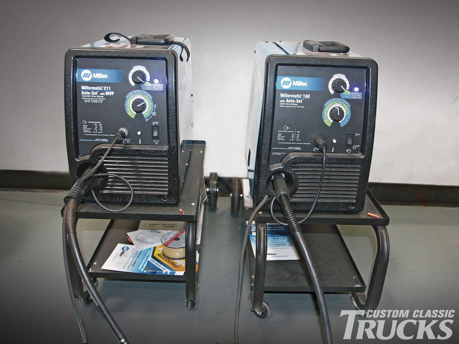 1. Here are two of Miller's latest MIG welders, aimed at the DIY homebuilder, the Millermatic 180 and 211. Both welders are equipped with Miller's exclusive Auto-Set function that automatically determines the wire speed required by setting the material thickness to be welded and the welding wire diameter. This function takes most of the guesswork out of the equation when it comes to setting up a welder by the inexperienced. The 211 has another Miller exclusive, the MVP or multi-voltage plug function, which allows the welder to be powered by either 120- or 230-volt power receptacles by simply swapping the provided plug ends. For our exercise, we'll be using the 180 exclusively, given its broad range, from 24-gauge sheetmetal to 5⁄16-inch plate.