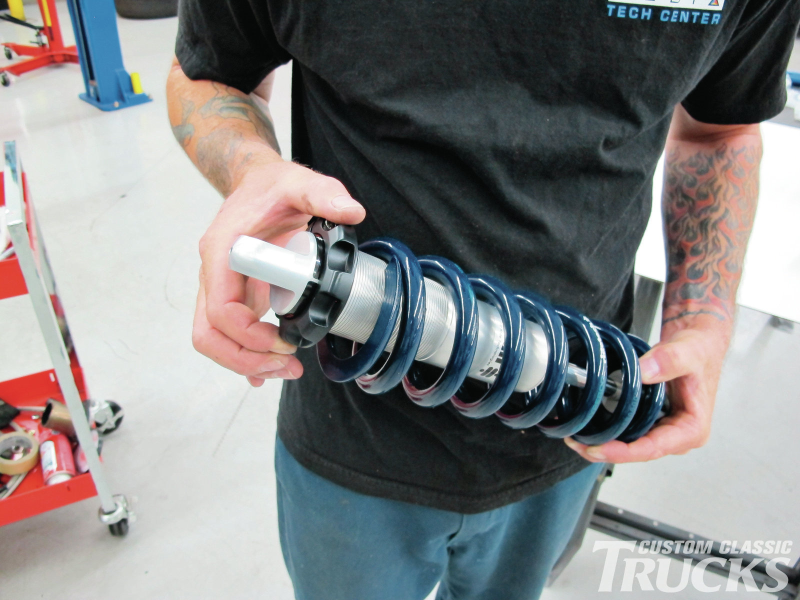 10. Another unique feature of the RideTech coilovers are the pinch clamp height adjusters. They use fine threads and Delrin spring washers to allow bind free pre-load adjustments.