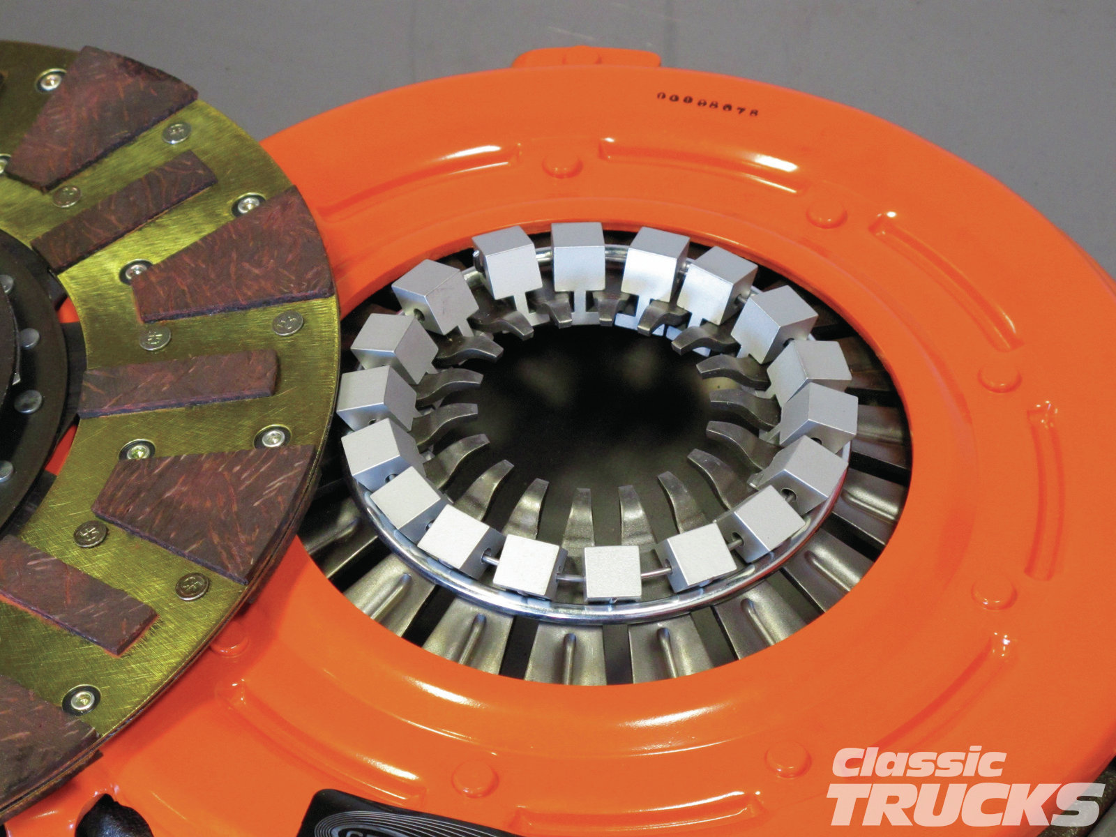 [11] Centerforce pressure plates use a weighted style system that adds pressure to the clutch disc when rpm increases. This means that the more rpm the engine has, the more pressure or clamping force the pressure plate can apply to the clutch disc, thus less chances of slipping.