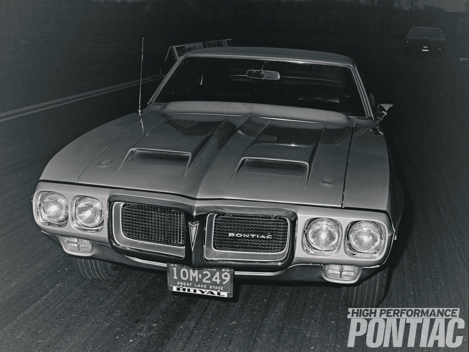 From this perspective, the '69 Trans Am prototype looks identical to a production '69 Firebird 400, except, of course, for the large dual-scooped fiberglass hood and windshield-wiper cover.