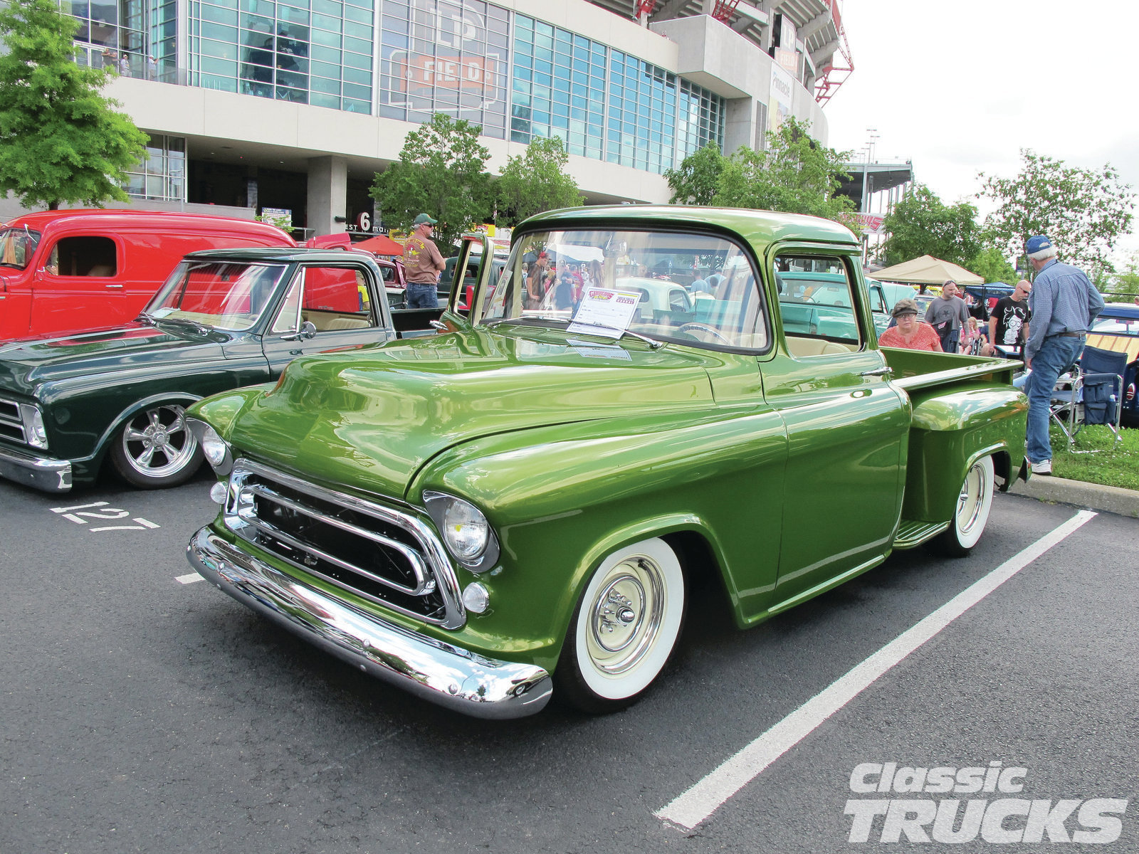 "Dickie Steven's 1956 Chevy stopped me in my tracks, not only by the way it looked, but I overheard him say it was ""Pond Scum Green"" in color. Turns out his hideous choice for the paint name was visually quite pleasing."