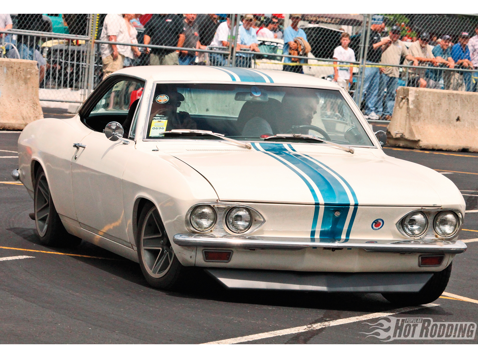 In an alternate universe, Ralph Nader is arrested as a serial killer, the Corvair never dies, the Camaro never gets penned, and instead of reading Camaro magazines, we now read Corvair Performers magazine, with Kevin Poe's 1965 Corvair on the cover. This one sports a 164ci air-cooled boxer with four 1 BBL Rochester carbs and a Howard cam.