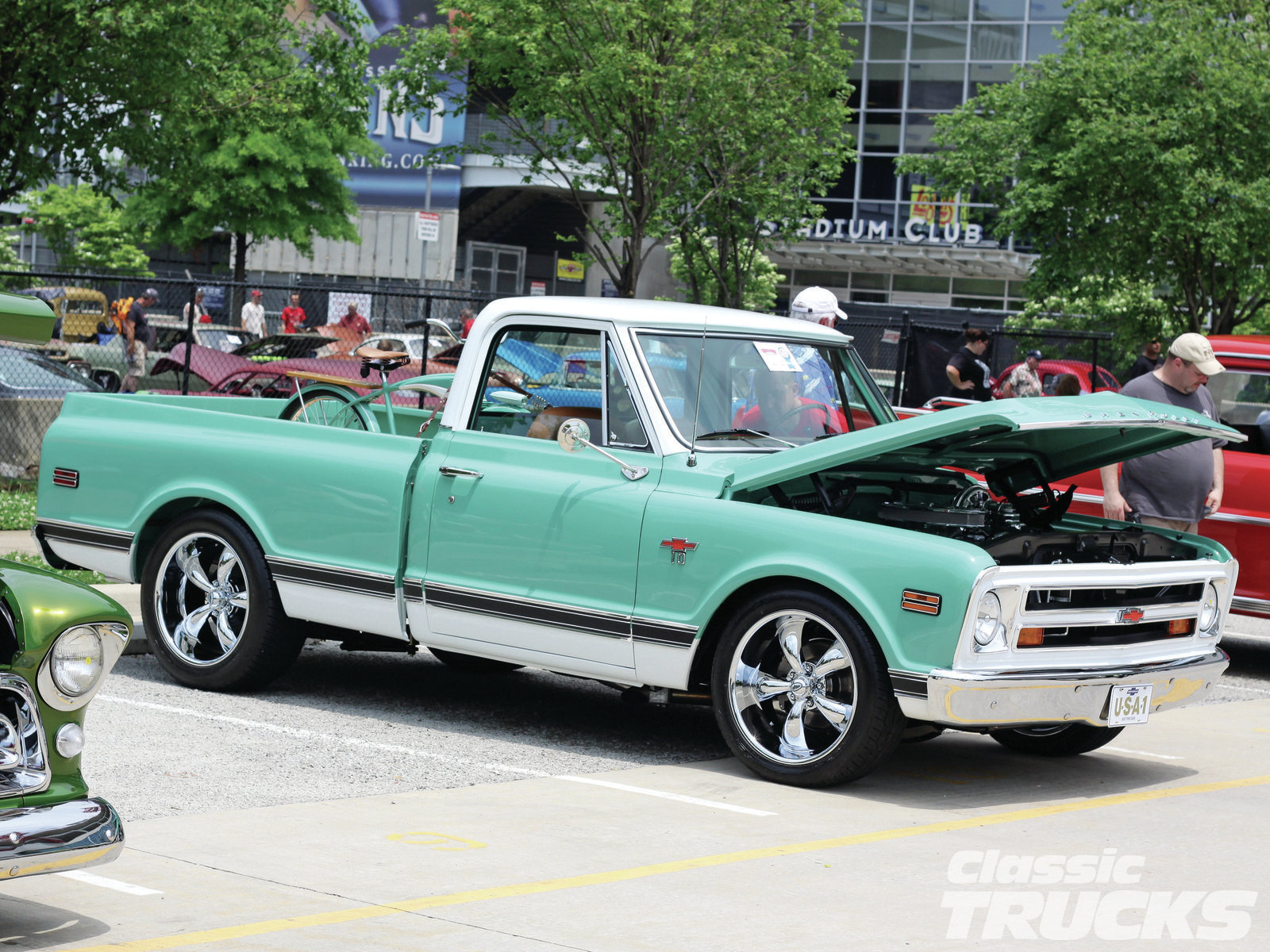 Greg Rogers is seen here with his 383-powered 1968 Chevy C10 and drove to the event from Woodsburg, Tennessee. He lowered his truck using C10 drop spindles and springs, and this was his first build from the frame off. Nice job Greg!