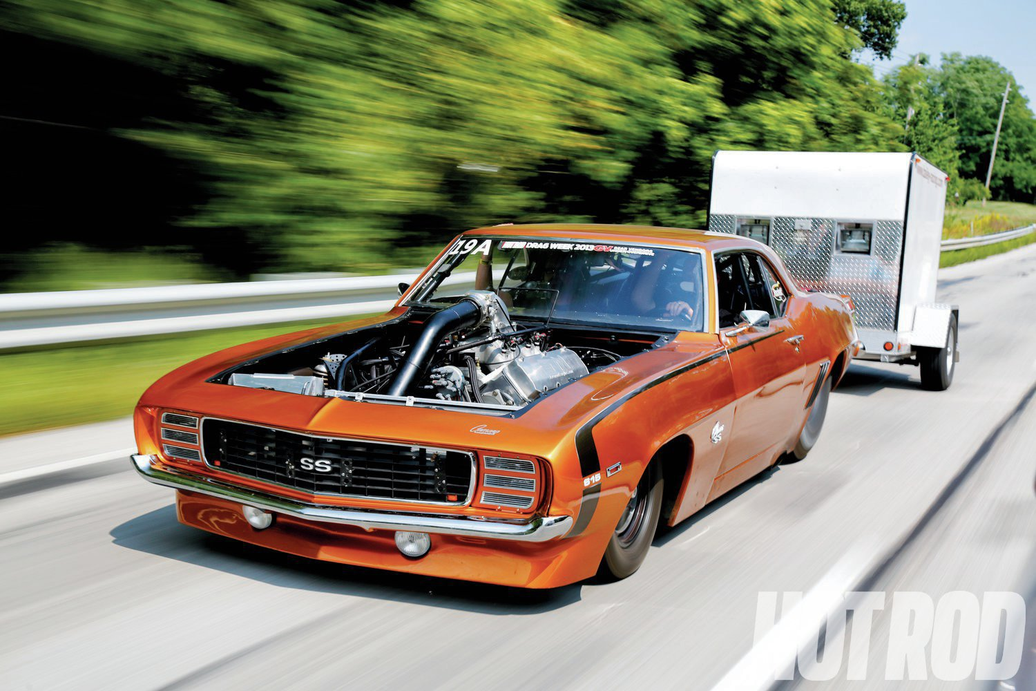 Tom Bailey's hoodless Camaro had few issues on the street, despite running a new-to-them torque converter.