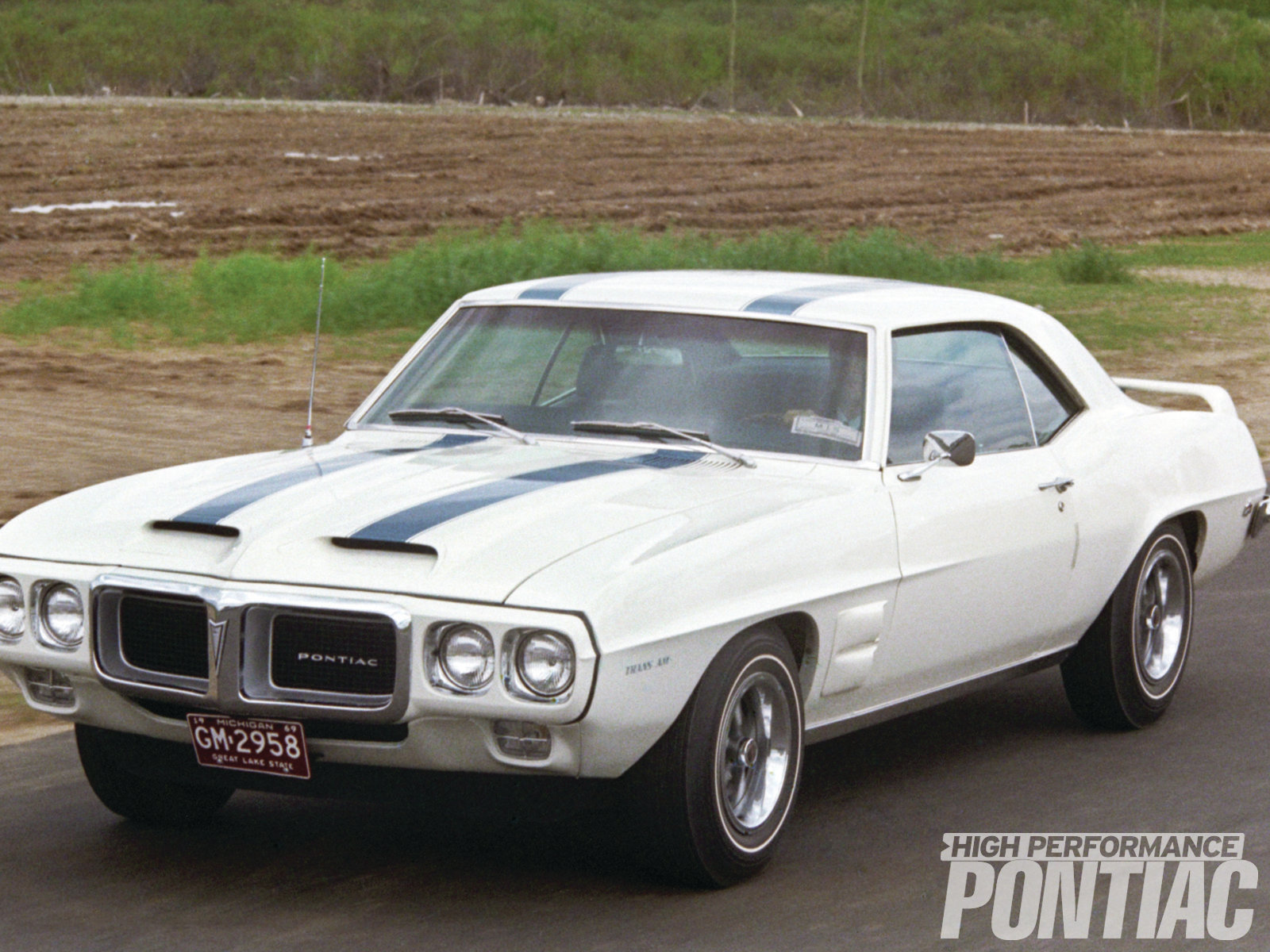As this pre-production example shows, by April 25, 1969 (the date of this photo), Pontiac had the features of its production '69 Trans Am dialed in, including the hood, stripes, and decals. Note the front spoiler, which was a last minute addition approved by Pontiac's production engineers to defend against the vehicle's nose lift.