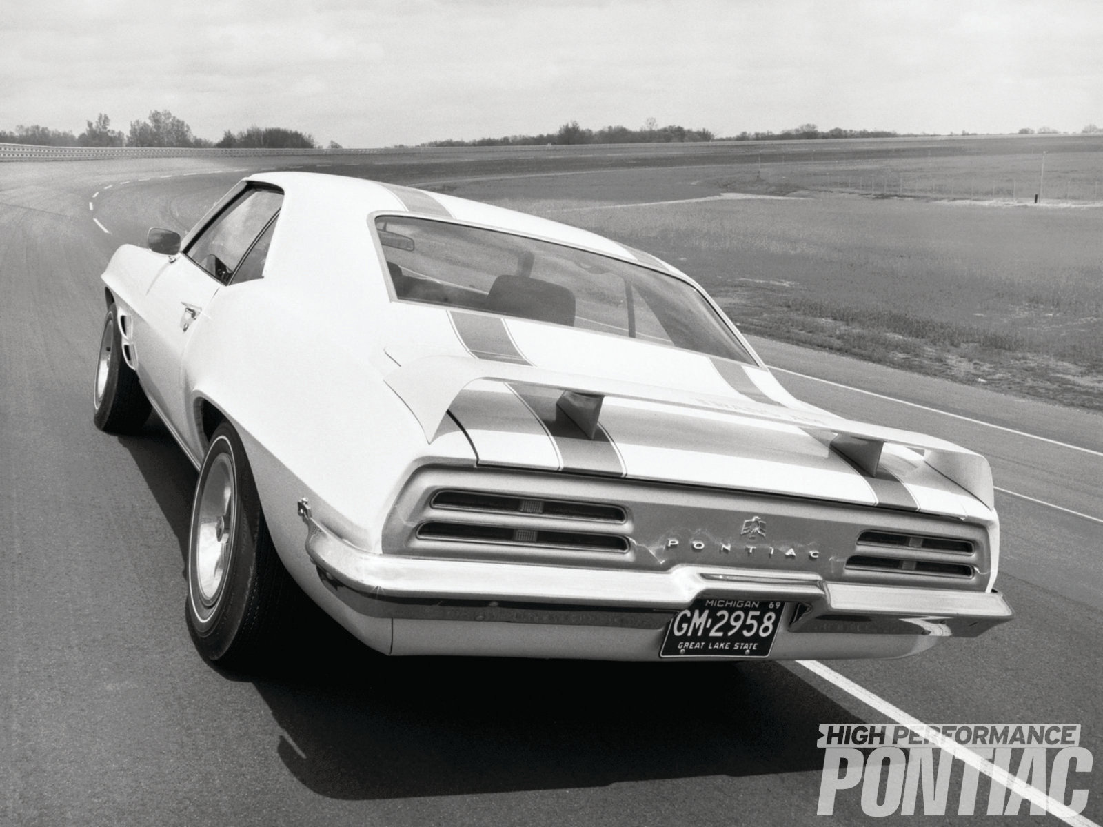 "Pontiac made much ado about the '69 Trans Am's rear wing. In a press release given to journalists at the 1969 Chicago Auto Show, it declared, ""The most striking styling feature of the new Trans Am will be a floating 60-inch air foil spanning the rear deck."""