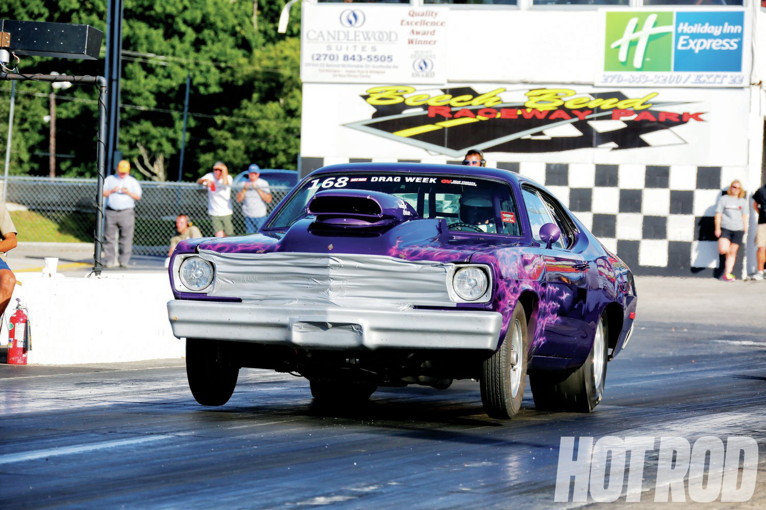 On Day 5, Eddie used what became known as the Freiburger trick at the first Drag Week™: blocking the grille for more mph.